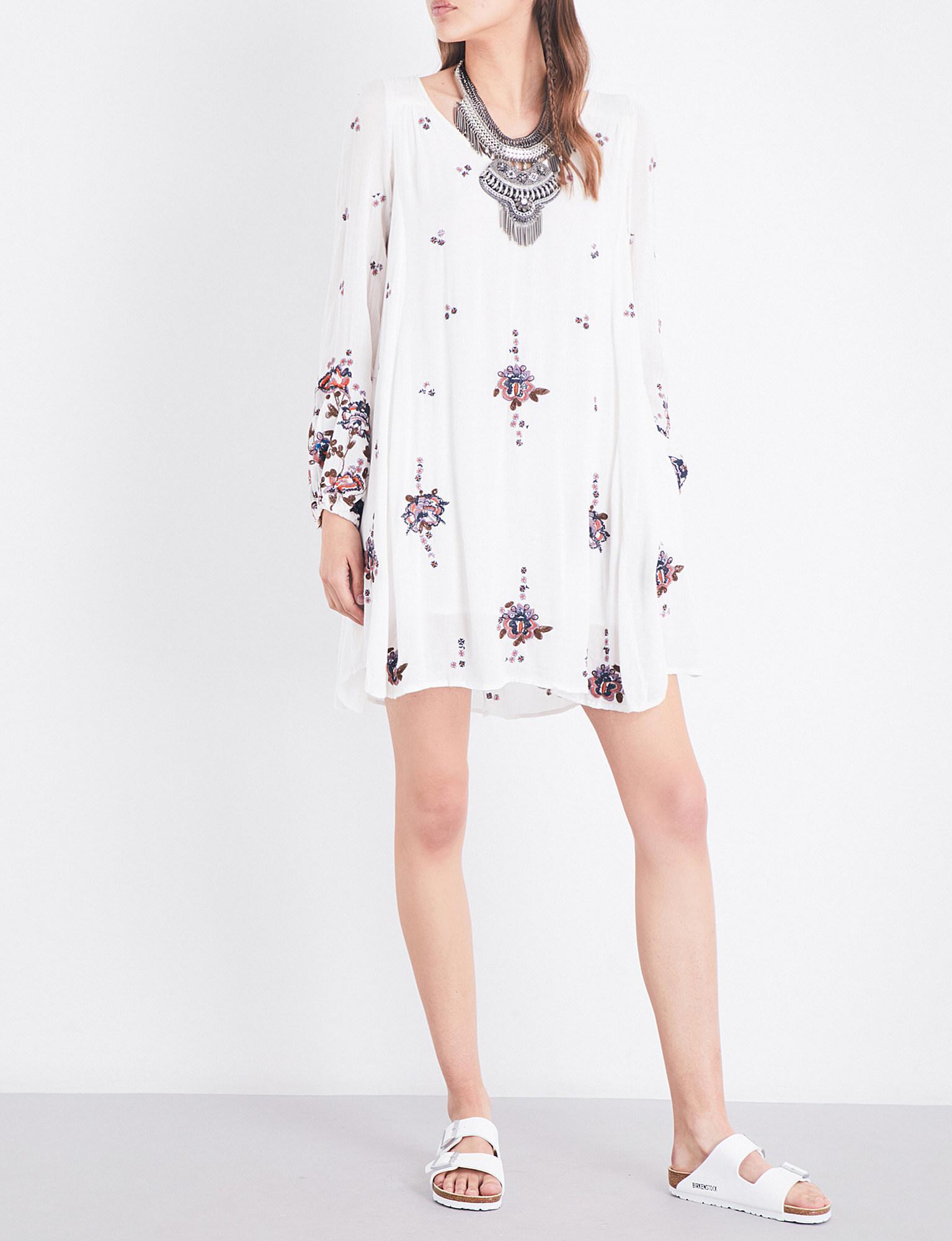 562556e21ac3 Free People Oxford Embroidered Gauze Mini Dress - Lyst