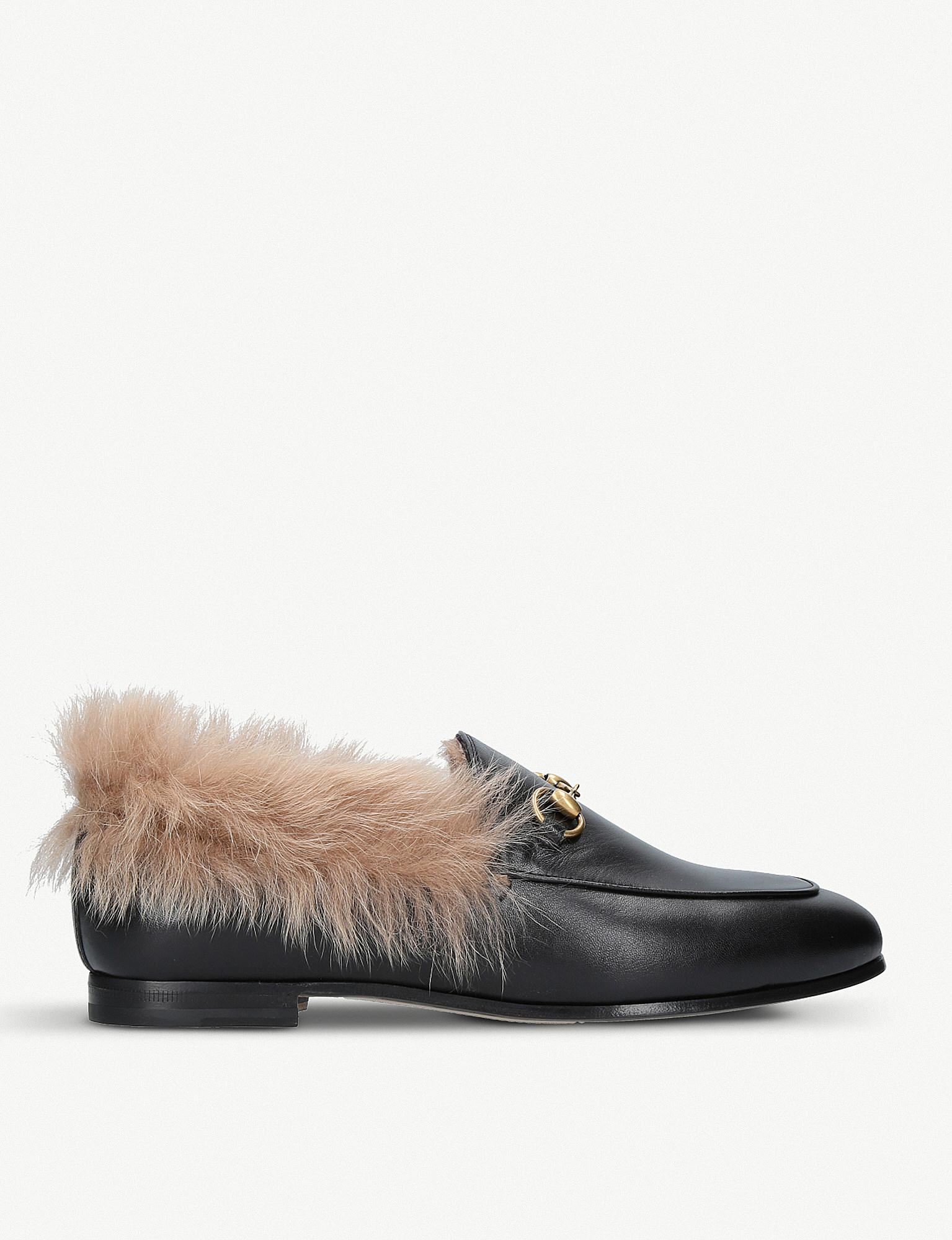 7fe9496468d Lyst - Gucci Jordaan Leather And Shearling Loafers in Black
