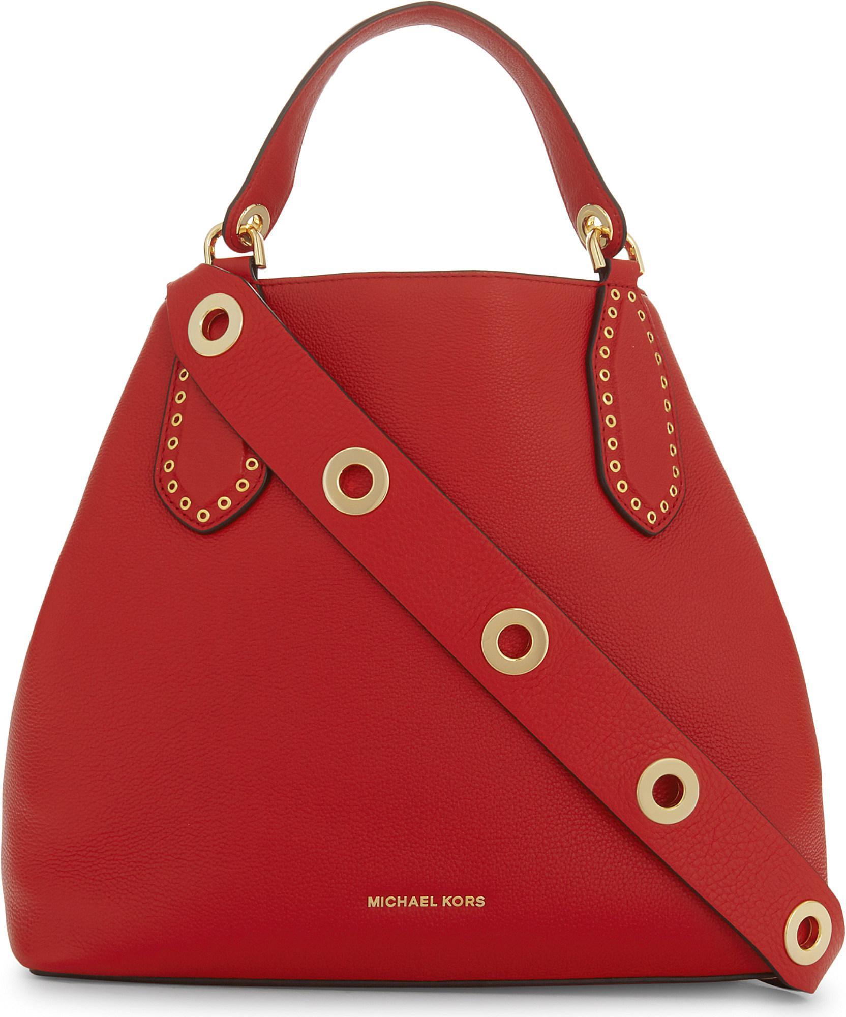 d6cda6b4b8c0 Lyst - MICHAEL Michael Kors Brooklyn Large Leather Shoulder Bag in Red