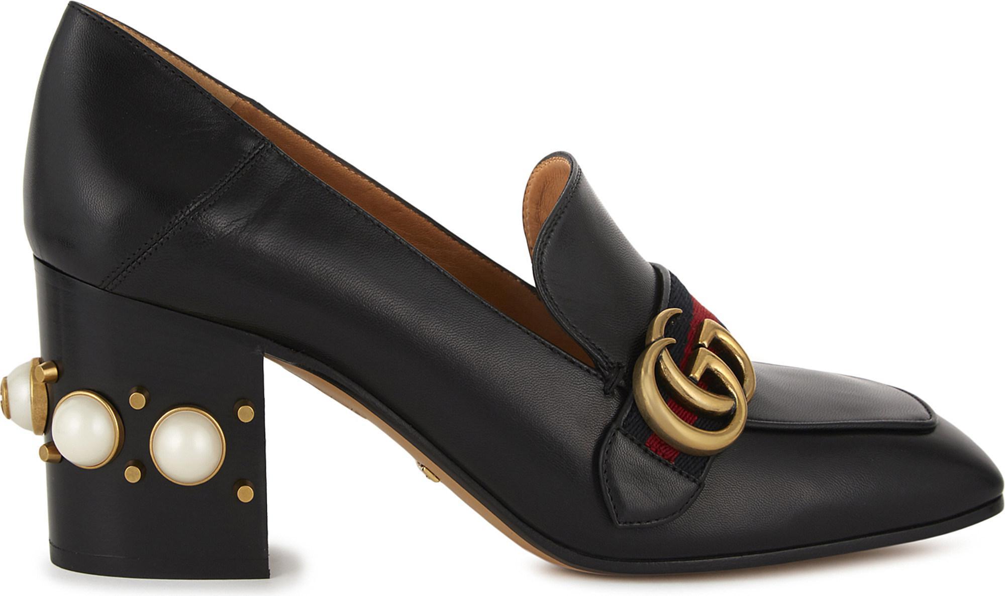 7a7e8c3b3f0f Lyst - Gucci Peyton Pearl 75 Leather Mules in Black