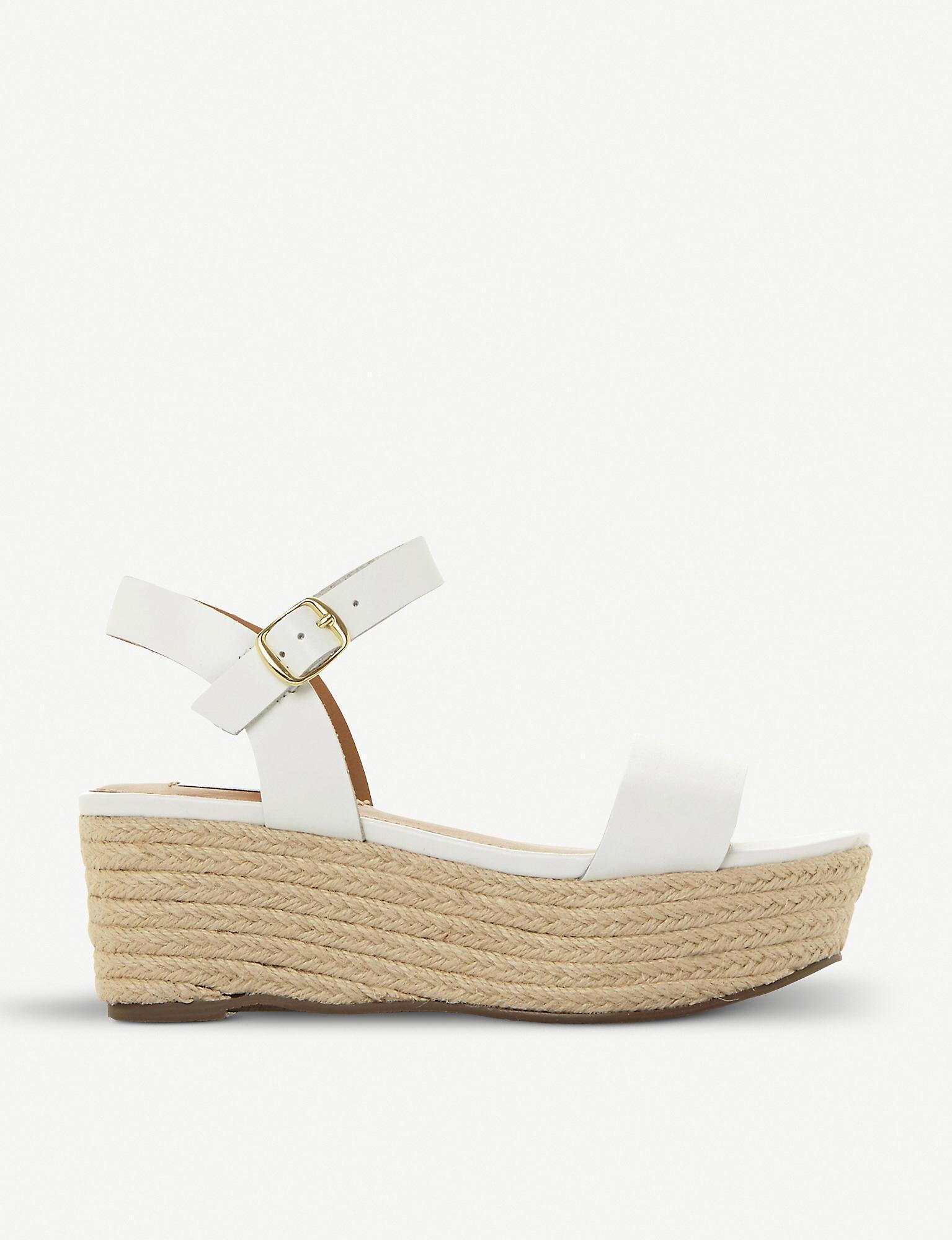 903d59de15b Women's White Busy Sm Leather And Jute Platform Sandals