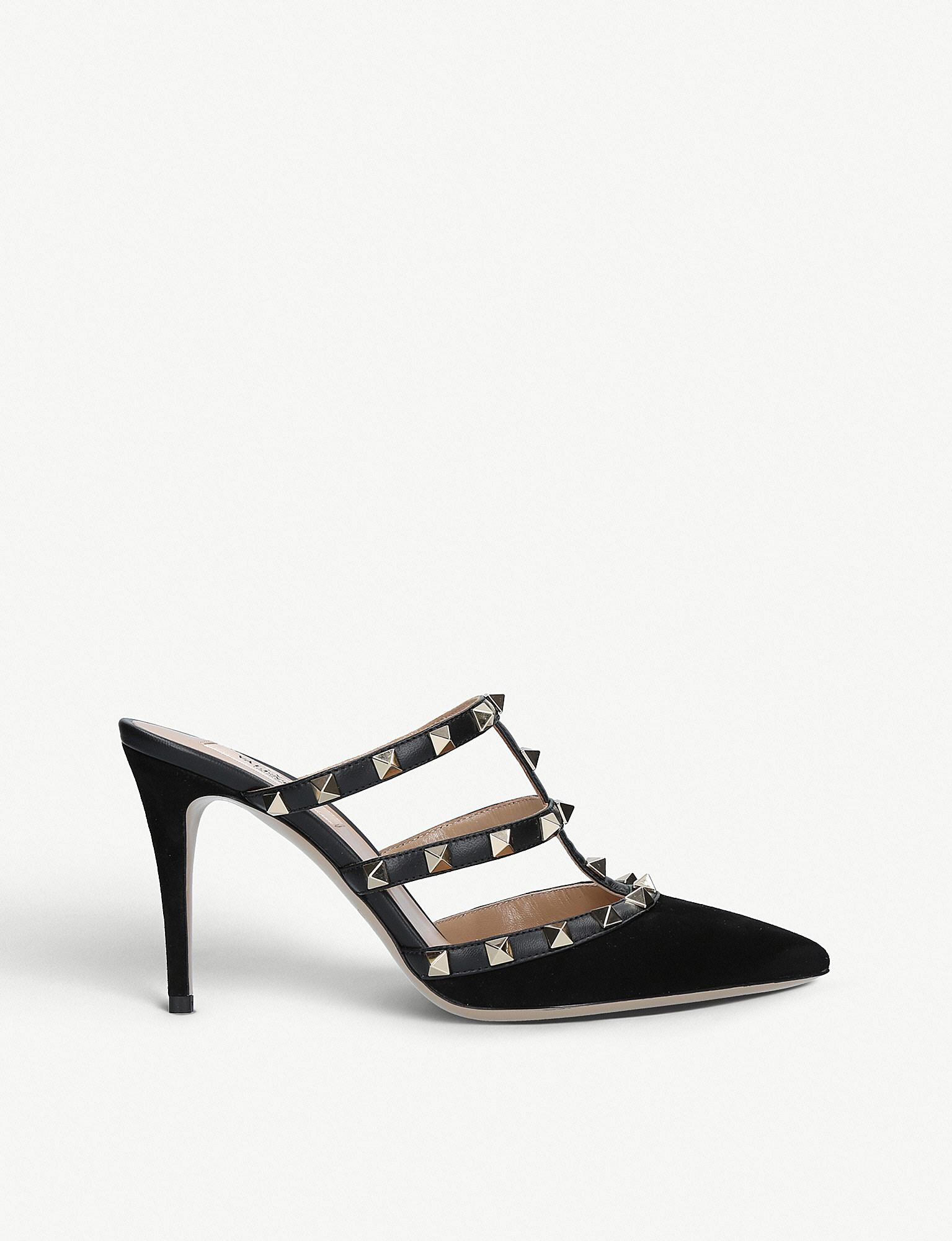 Valentino Rockstud Pointed Suede Mules