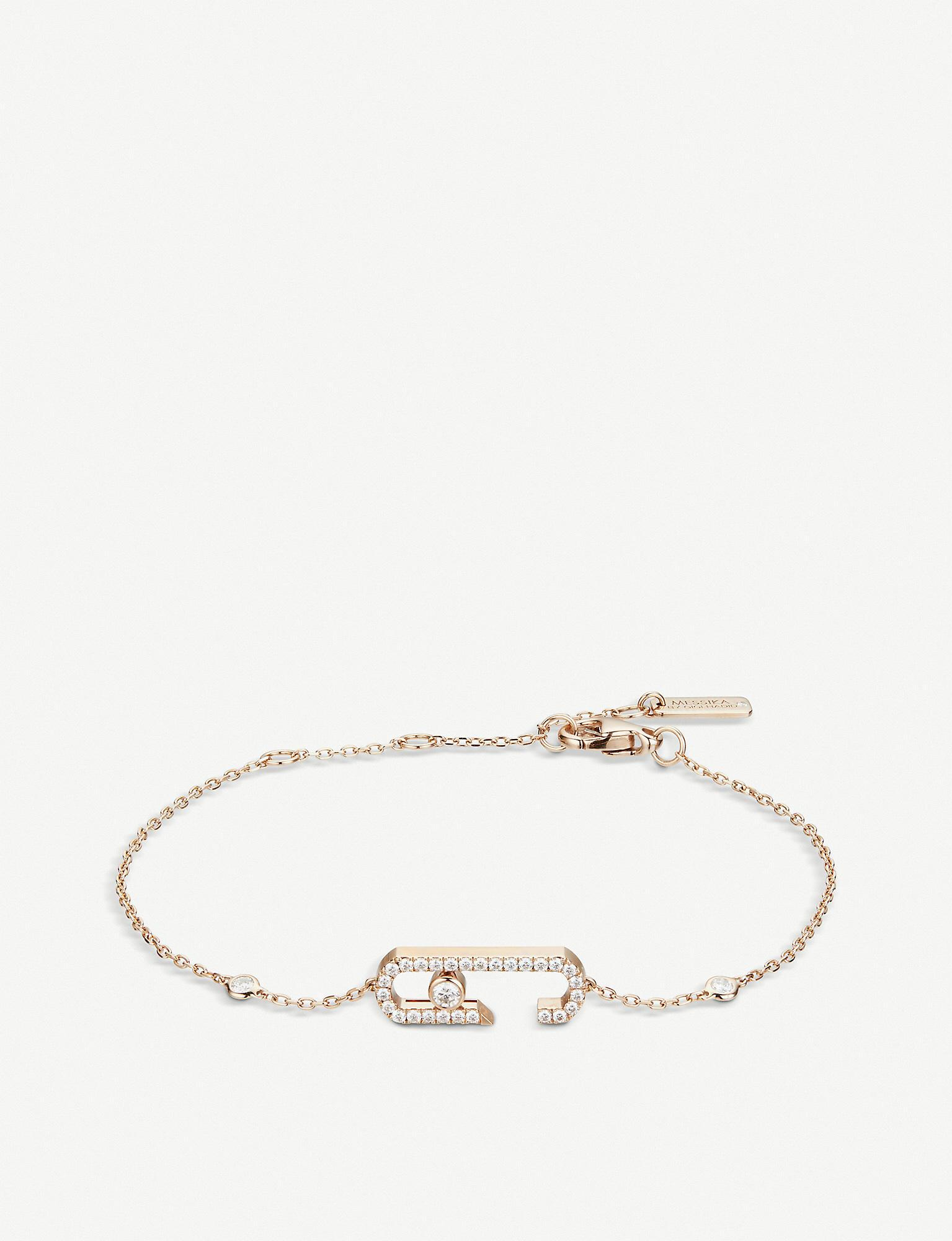 9e7477b705c Messika Move Addiction 18ct Rose-gold And Diamond Bracelet in Pink ...