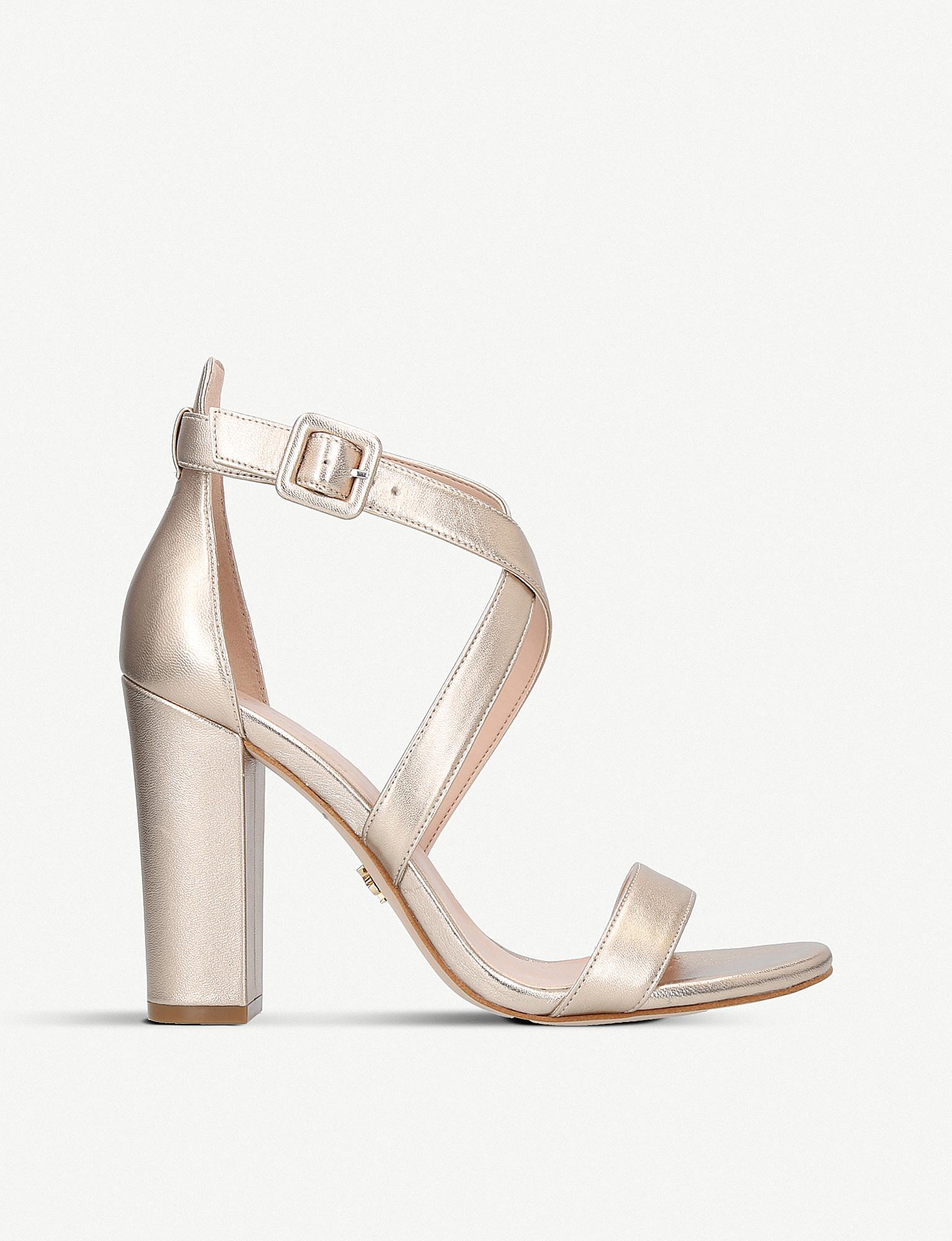 6ce513d93e37 Kurt Geiger Dover Metallic Leather Heeled Sandals in Metallic - Lyst