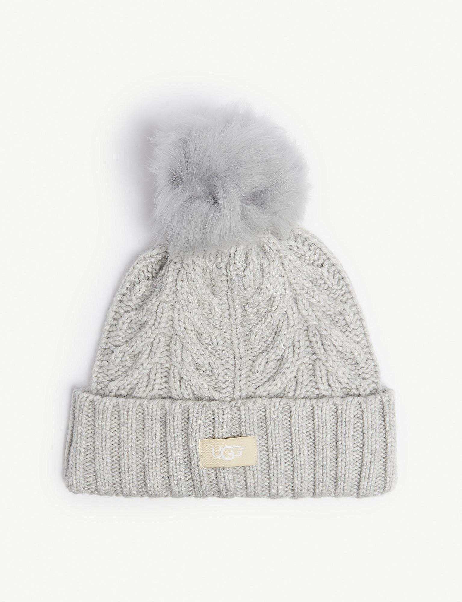 f63752aaa0b Lyst - UGG Cable Knit Pompom Beanie in Gray