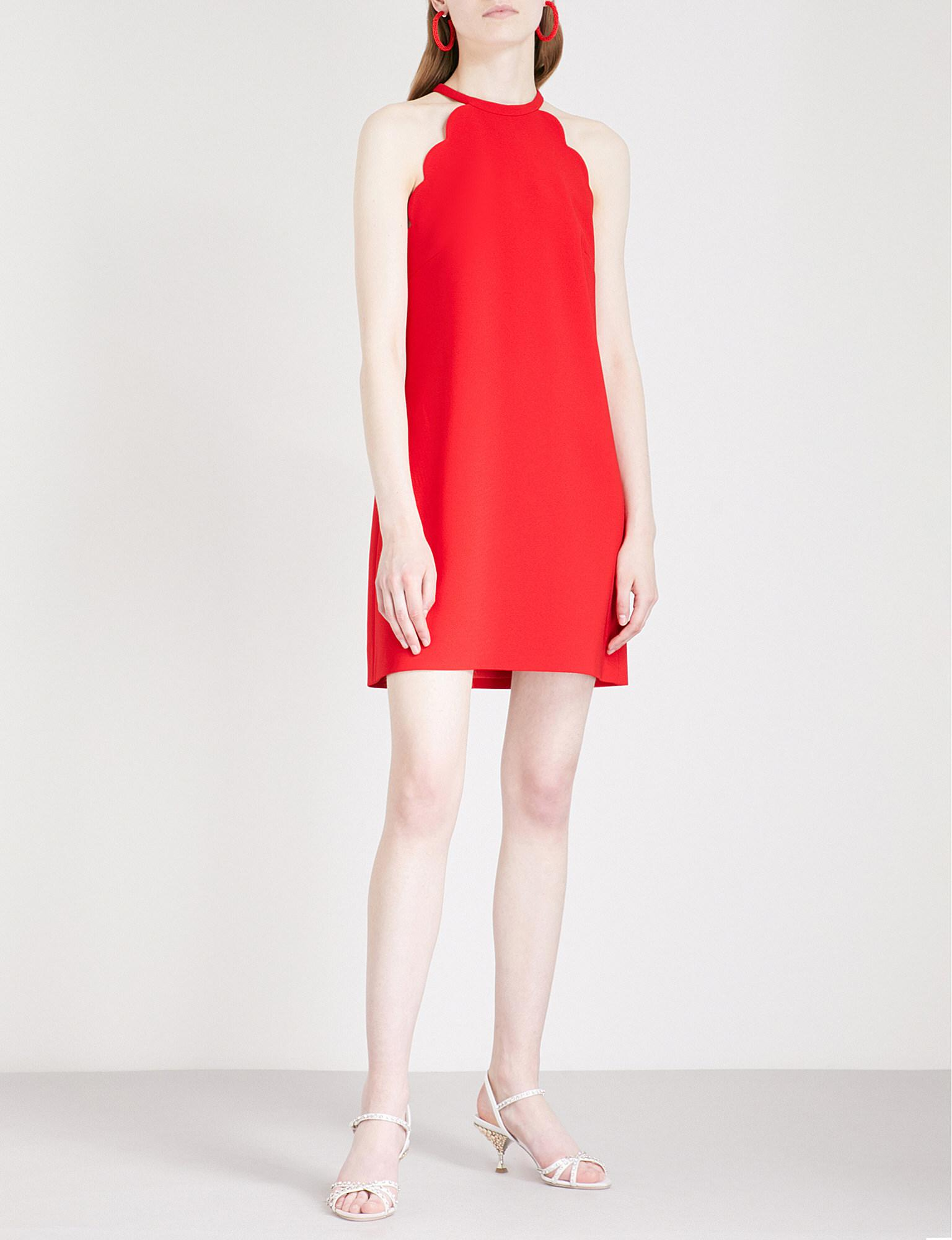 Lyst - Miu Miu Scalloped Halterneck Crepe Mini Dress in Red edac86fdd9557