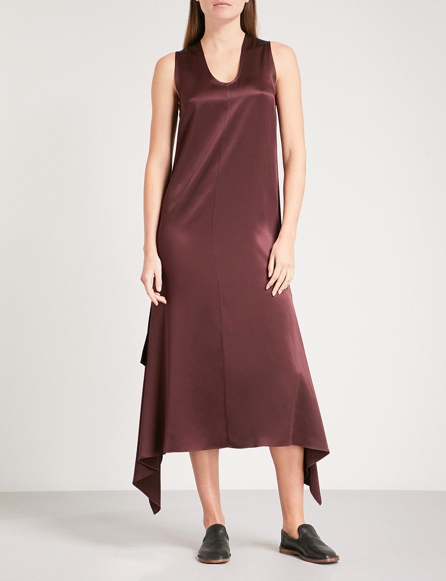 2dea0b0bbca2 JOSEPH Woman Draped Silk-satin Midi Dress Merlot - Lyst