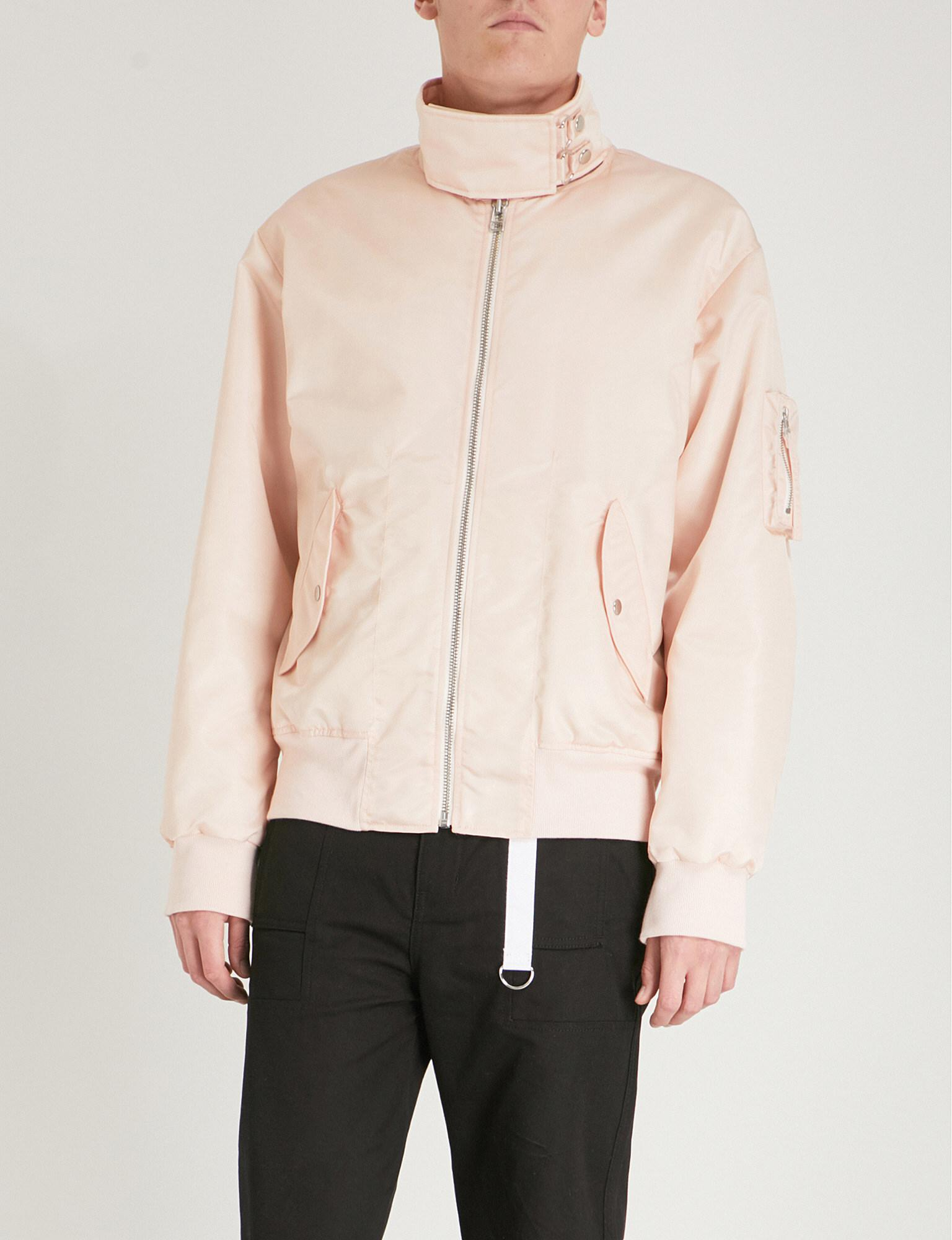 Helmut Lang Synthetic Oversized-collar Bomber Jacket in Pale Pink (Pink) for Men