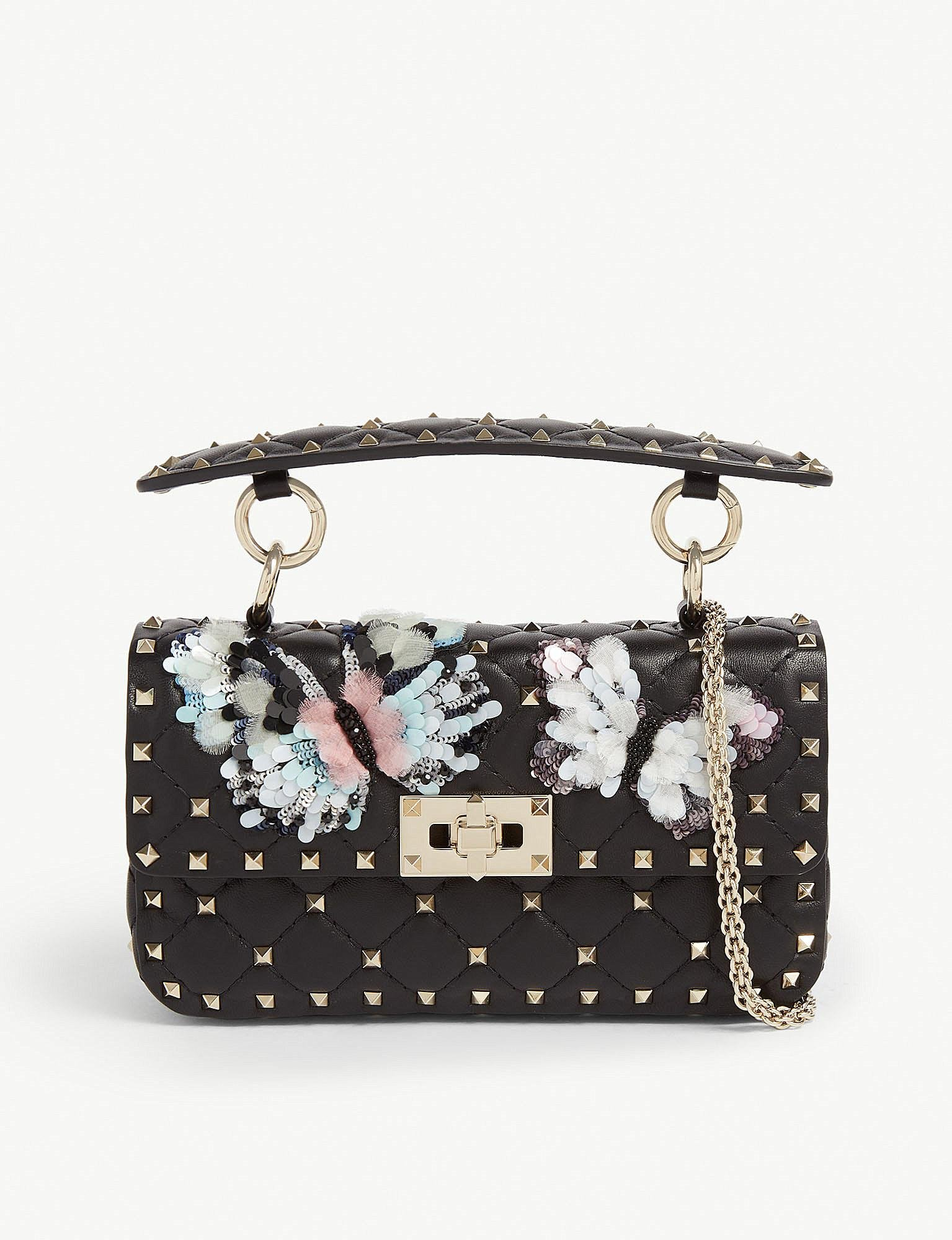 1009fd163f Lyst - Valentino Butterfly Rockstud Quilted Leather Shoulder Bag in ...