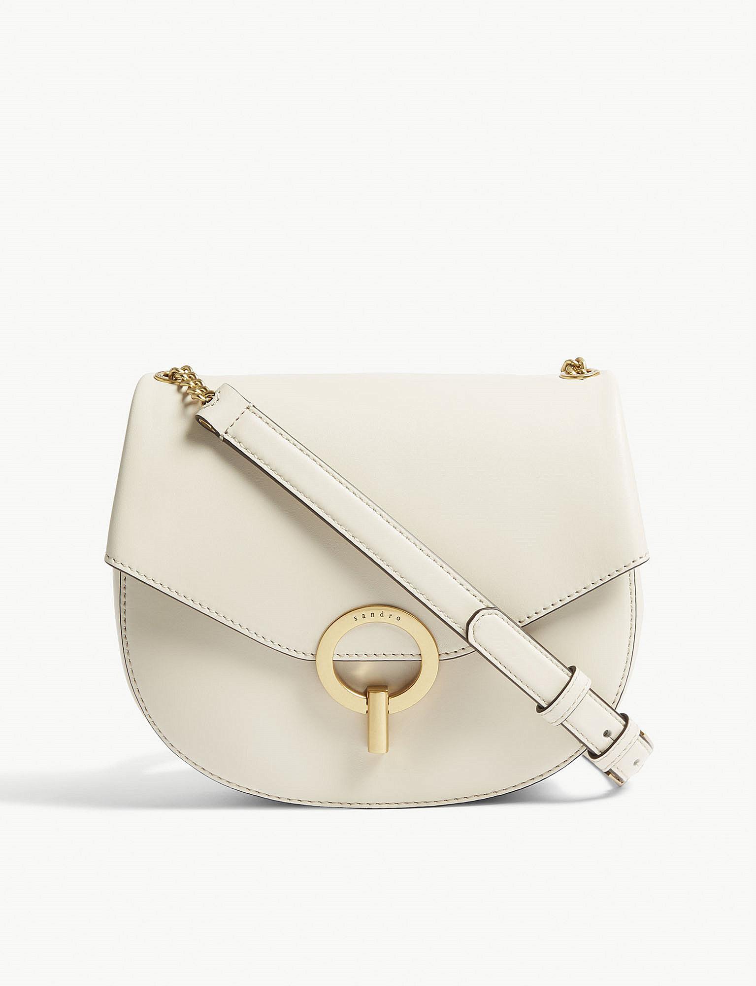 584df26e6e09 Sandro Pepita Leather Cross-body Bag in Natural - Lyst