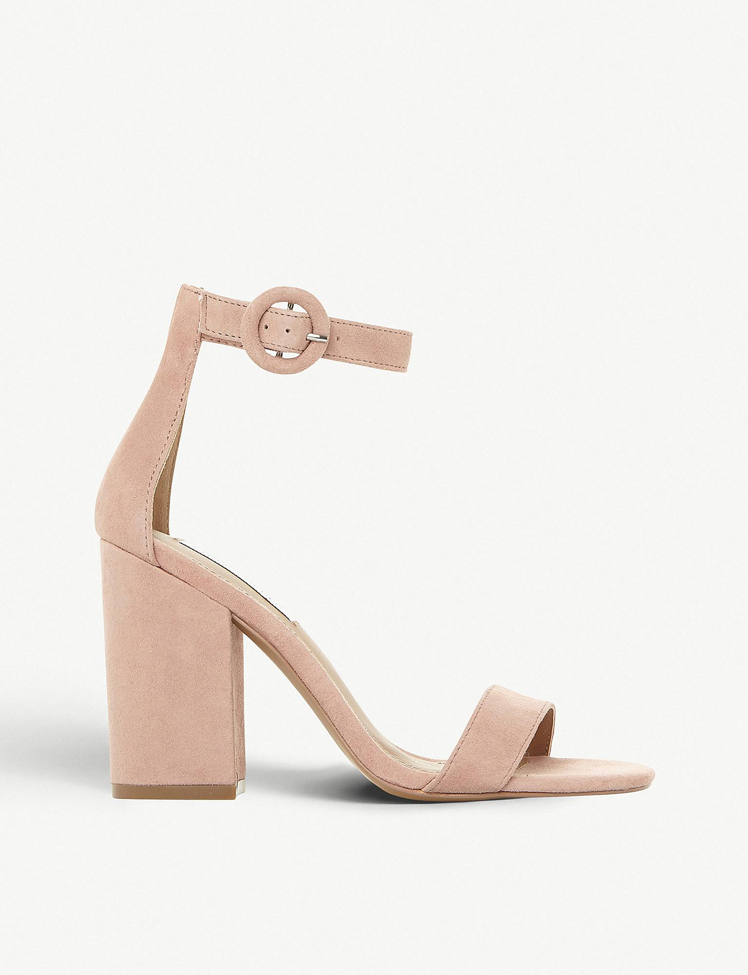 d0381929a00 Lyst - Steve Madden Friday Block Heel Suede Sandals in Natural