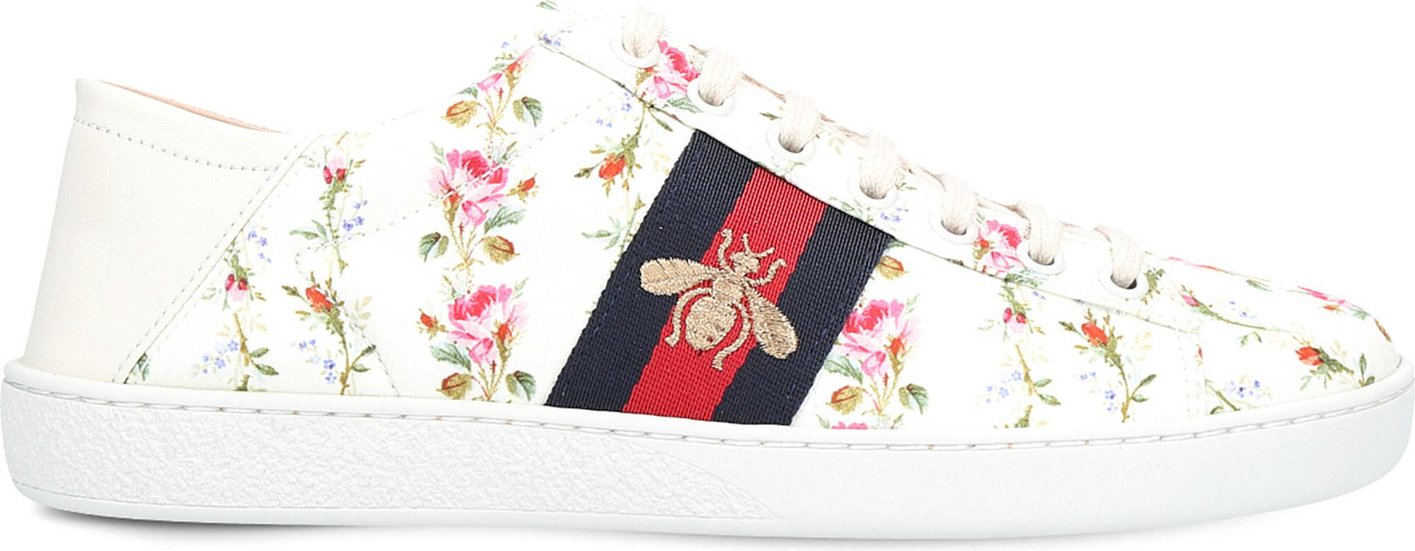 Ace Floral And Bee Leather Trainers