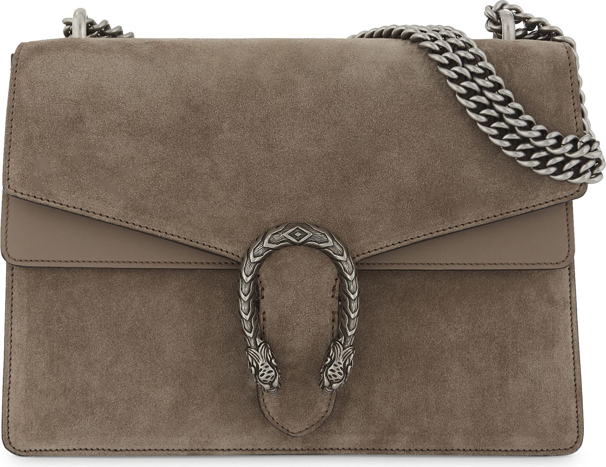 Gucci Dionysus Medium Suede Shoulder Bag in Taupe (Green) , Lyst