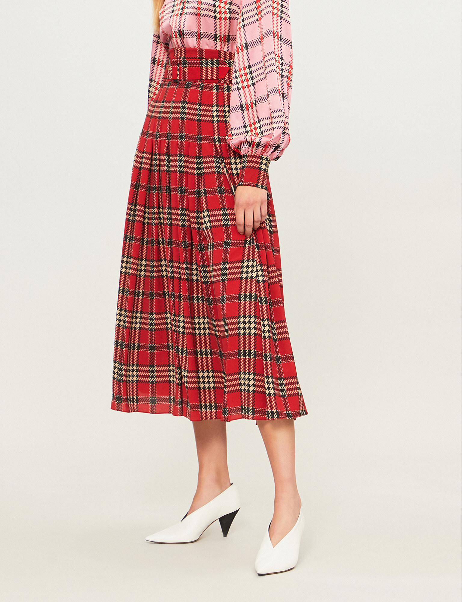 3d133680d Emilia Wickstead Checked Pleated Woven Midi Skirt in Red - Lyst