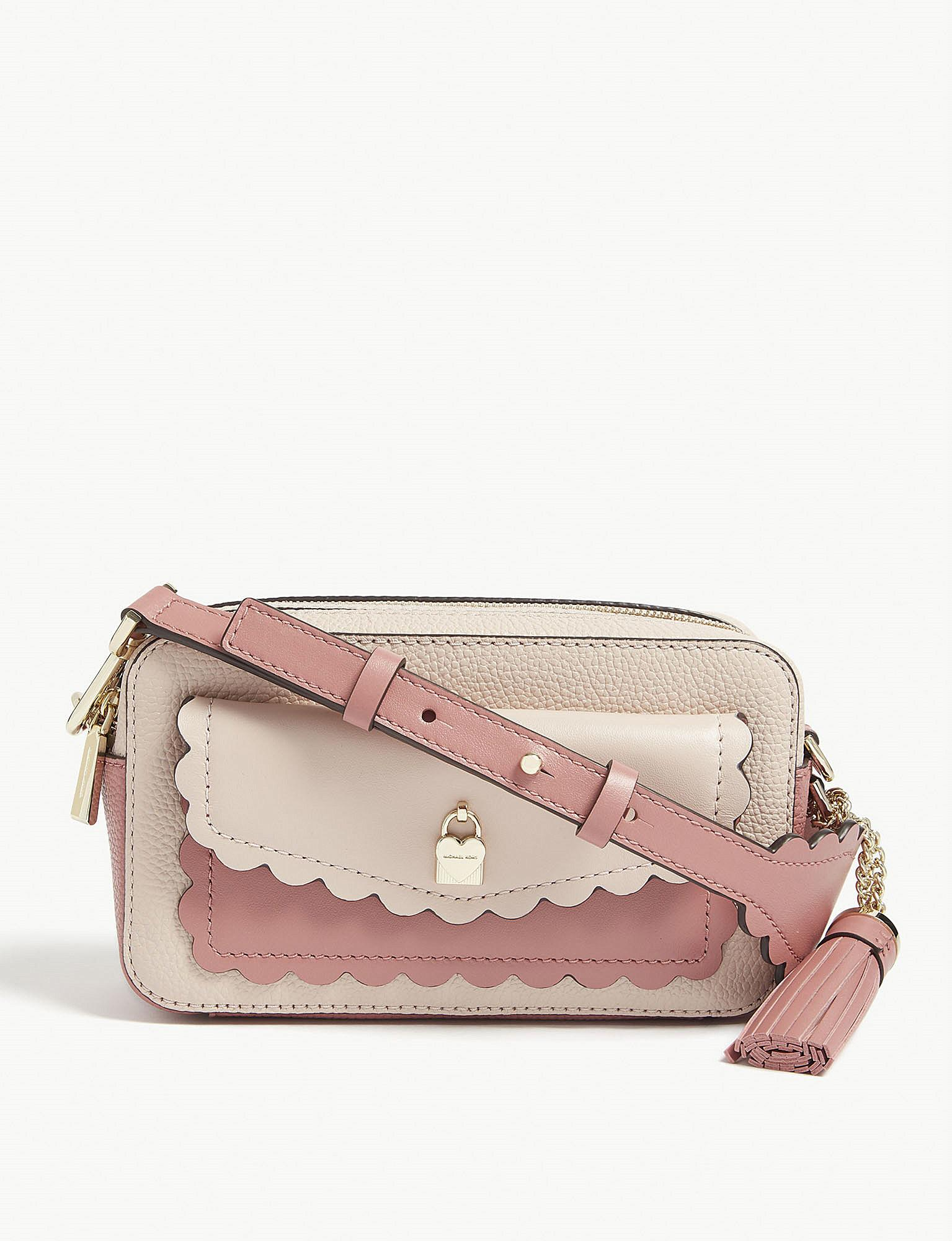 ea0bff58f4 Lyst - Michael Michael Kors Scalloped Leather Cross-body Bag in Pink