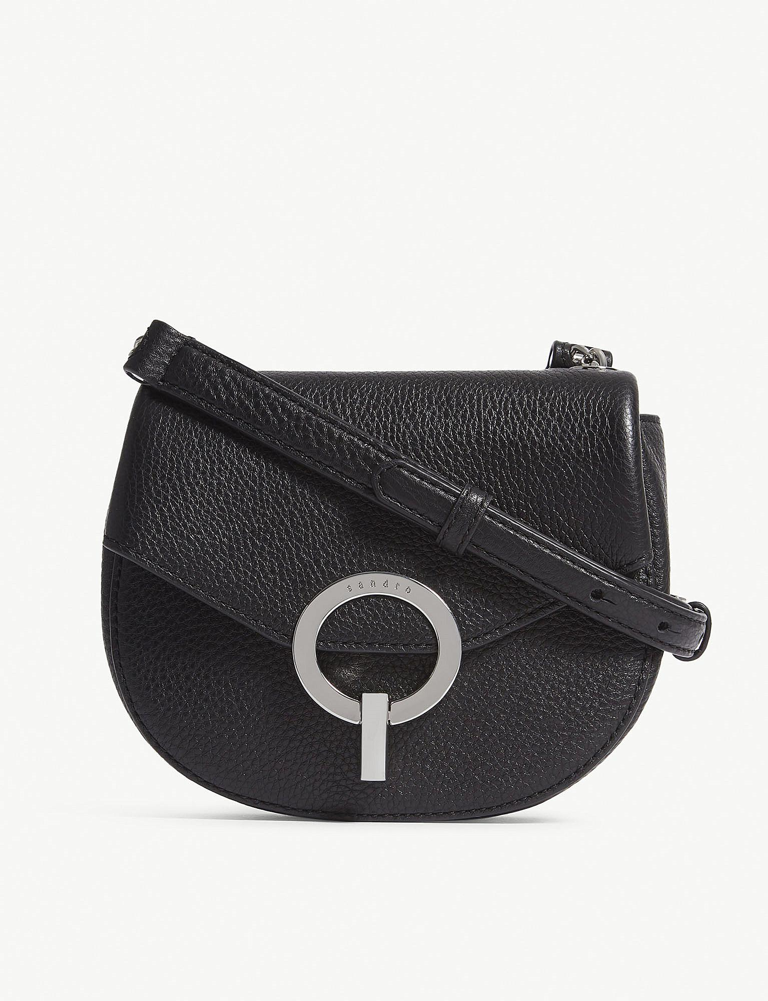 283db29a9b30 Lyst - Sandro Red Pepita Grained Leather Shoulder Bag in Black