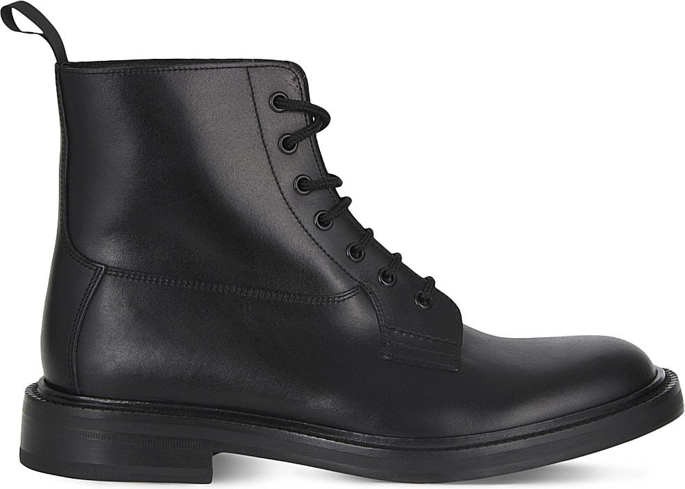 sandro squadron leather boots in black for lyst