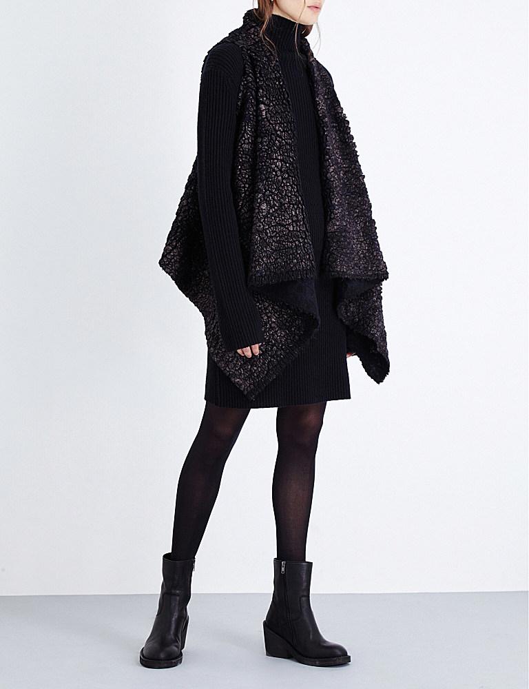 simona tagliaferri metallic finish wool blend wrap in black lyst