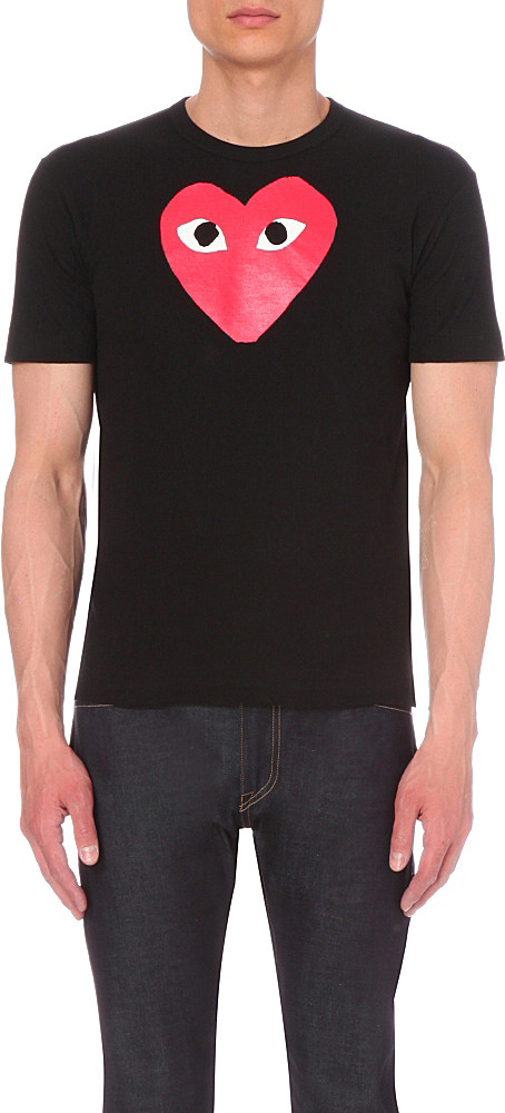 Play Comme Des Gar Ons Play Heart Cotton T Shirt In Black