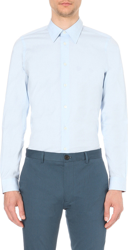 Ps by paul smith tailored fit stretch cotton shirt in blue for Tailored fit shirts meaning