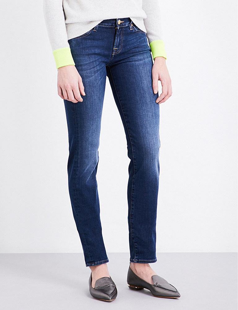 7 for all mankind roxanne skinny mid rise jeans in blue lyst. Black Bedroom Furniture Sets. Home Design Ideas