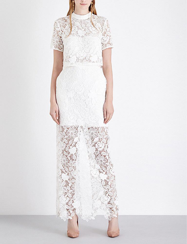 Lyst - Self-Portrait Marcela Guipure-lace Wedding Dress in White