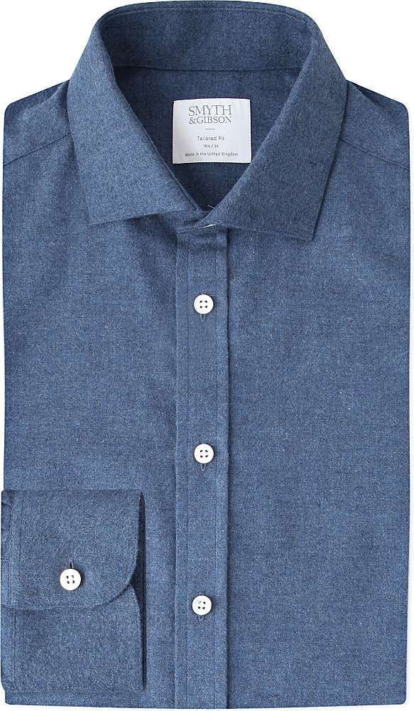 Smyth Gibson Albany Brushed Cotton Twill Shirt In Blue