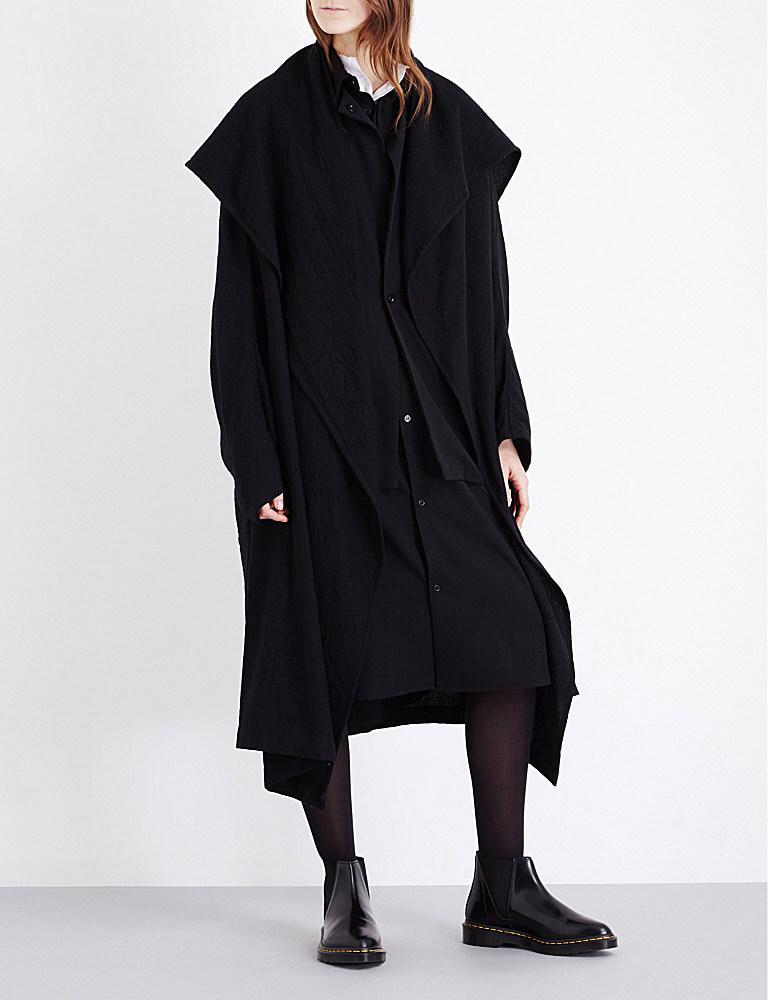 Yohji yamamoto Draped Wool Coat in Black