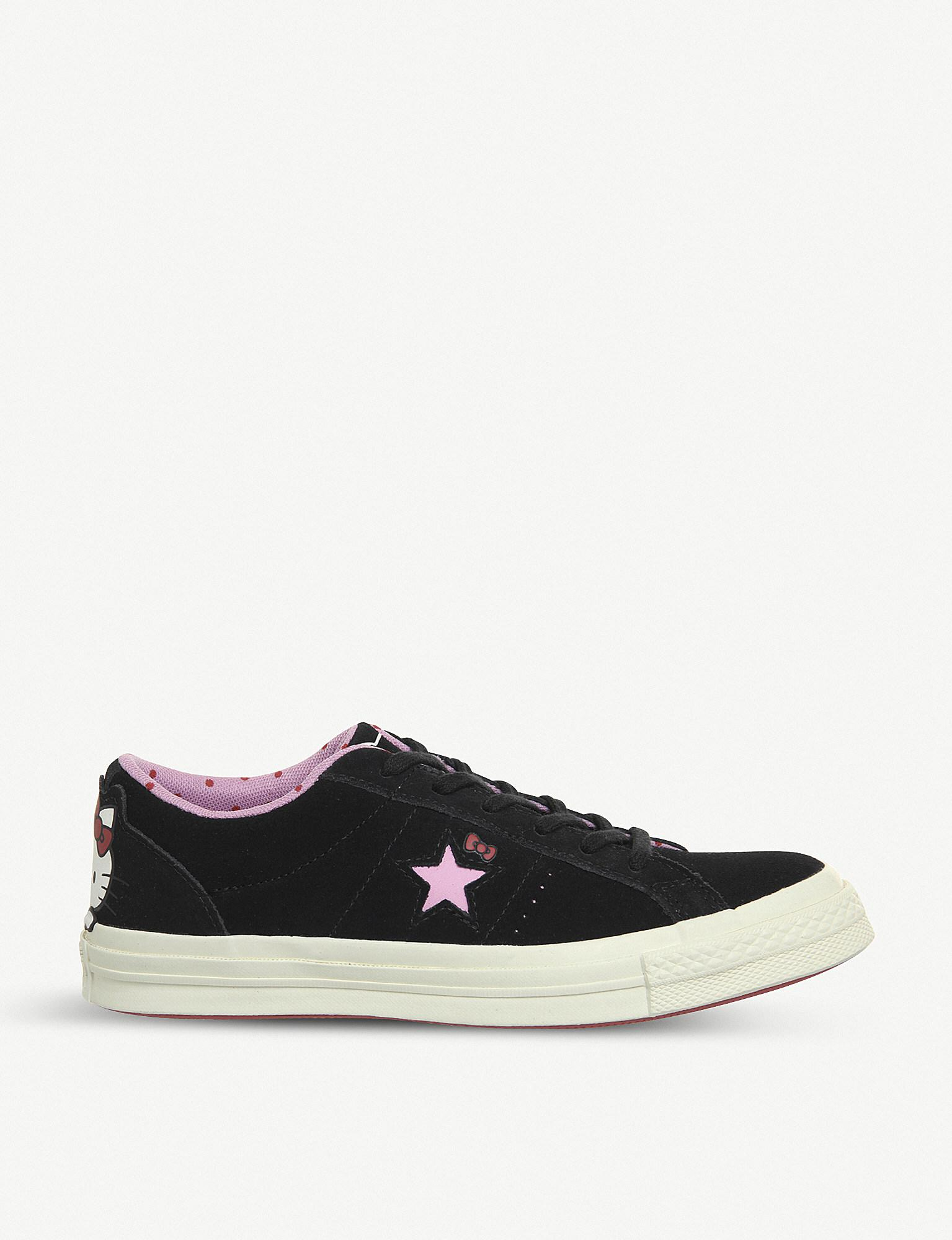 862ac976d522e3 Converse Hello Kitty One Star Low-top Suede Trainers in Black - Lyst