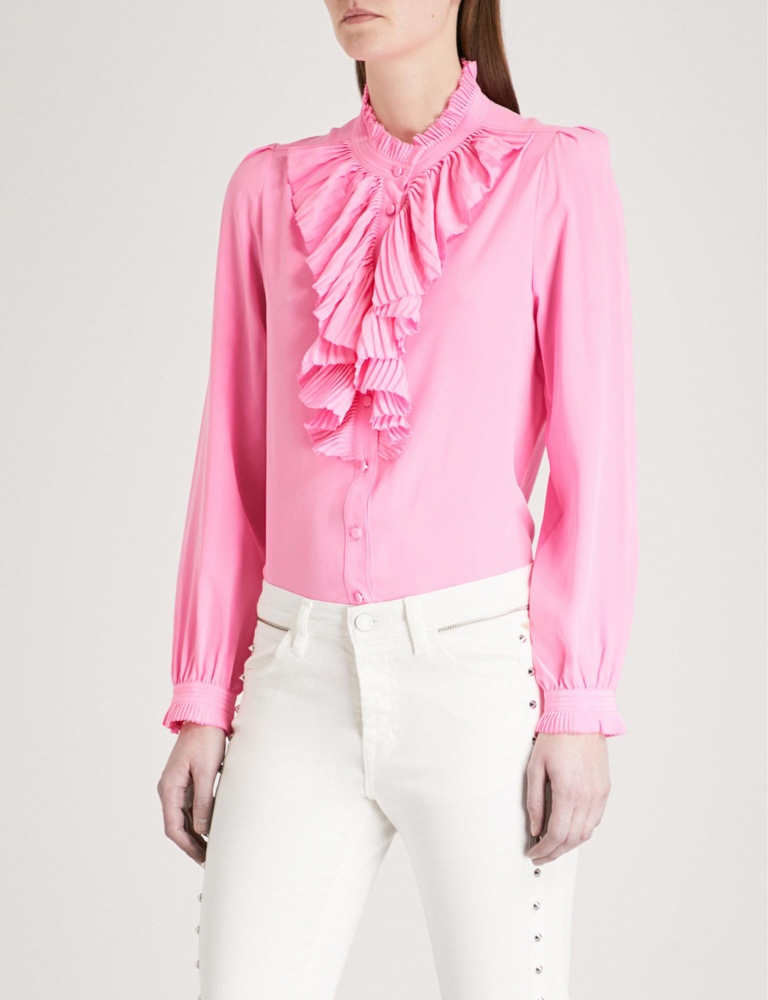 9f7919a11f6e8 Lyst - Zadig   Voltaire Tacco Ruffled Silk Shirt in Pink