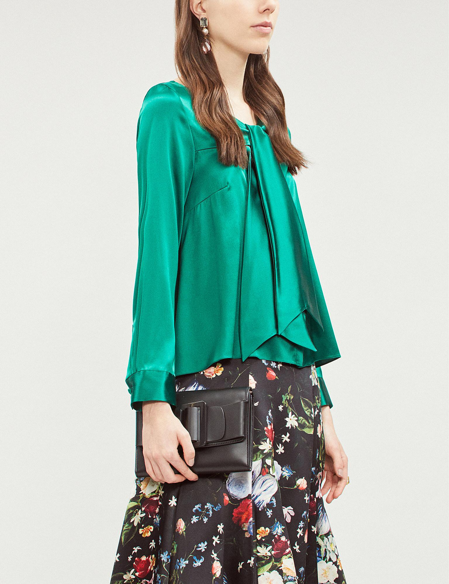 26faa8e1dae035 OSMAN Necktie Stretch-silk Shirt in Green - Lyst