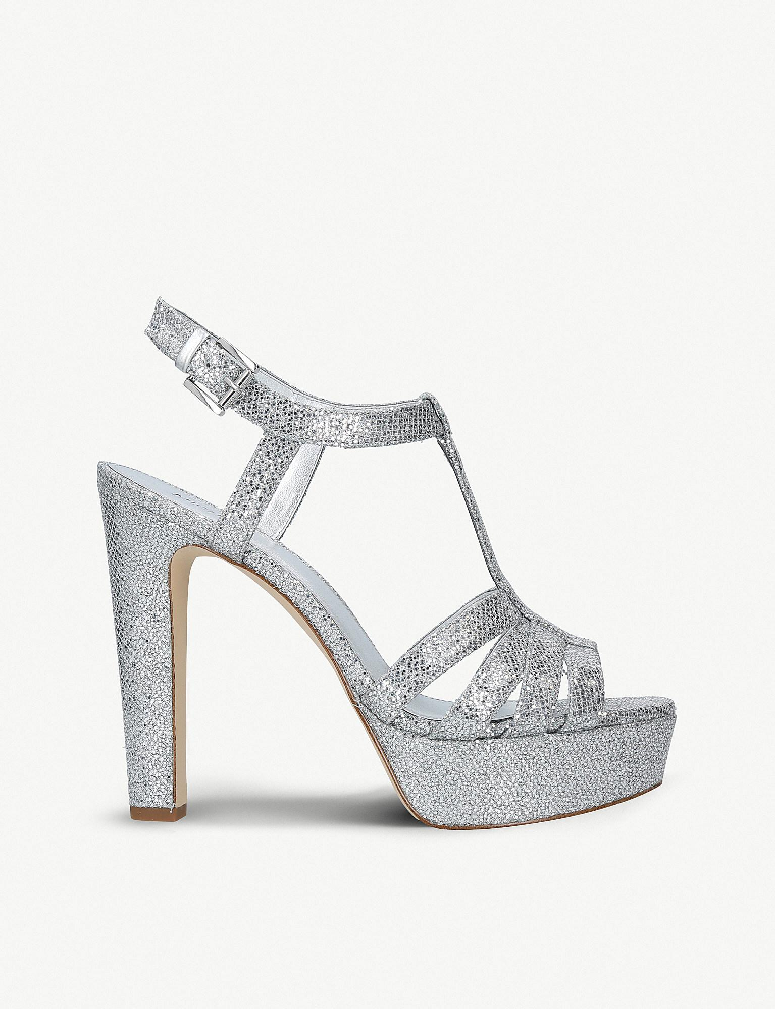 9ac34498a06 Lyst - MICHAEL Michael Kors Catalina Heeled Mesh Sandals in Metallic