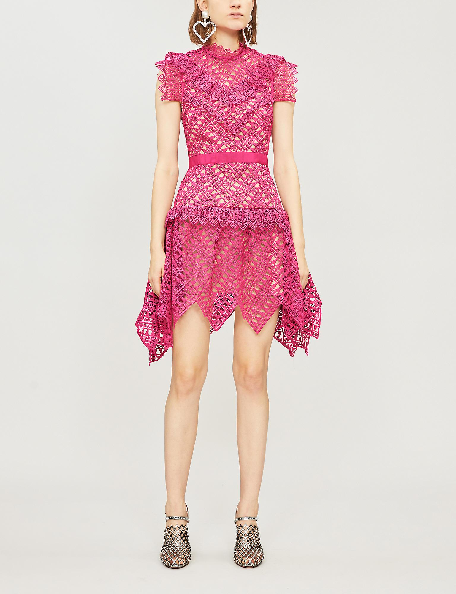 8a3355c605d2 Self-Portrait Abstract Triangle-lace Mini Dress in Pink - Lyst