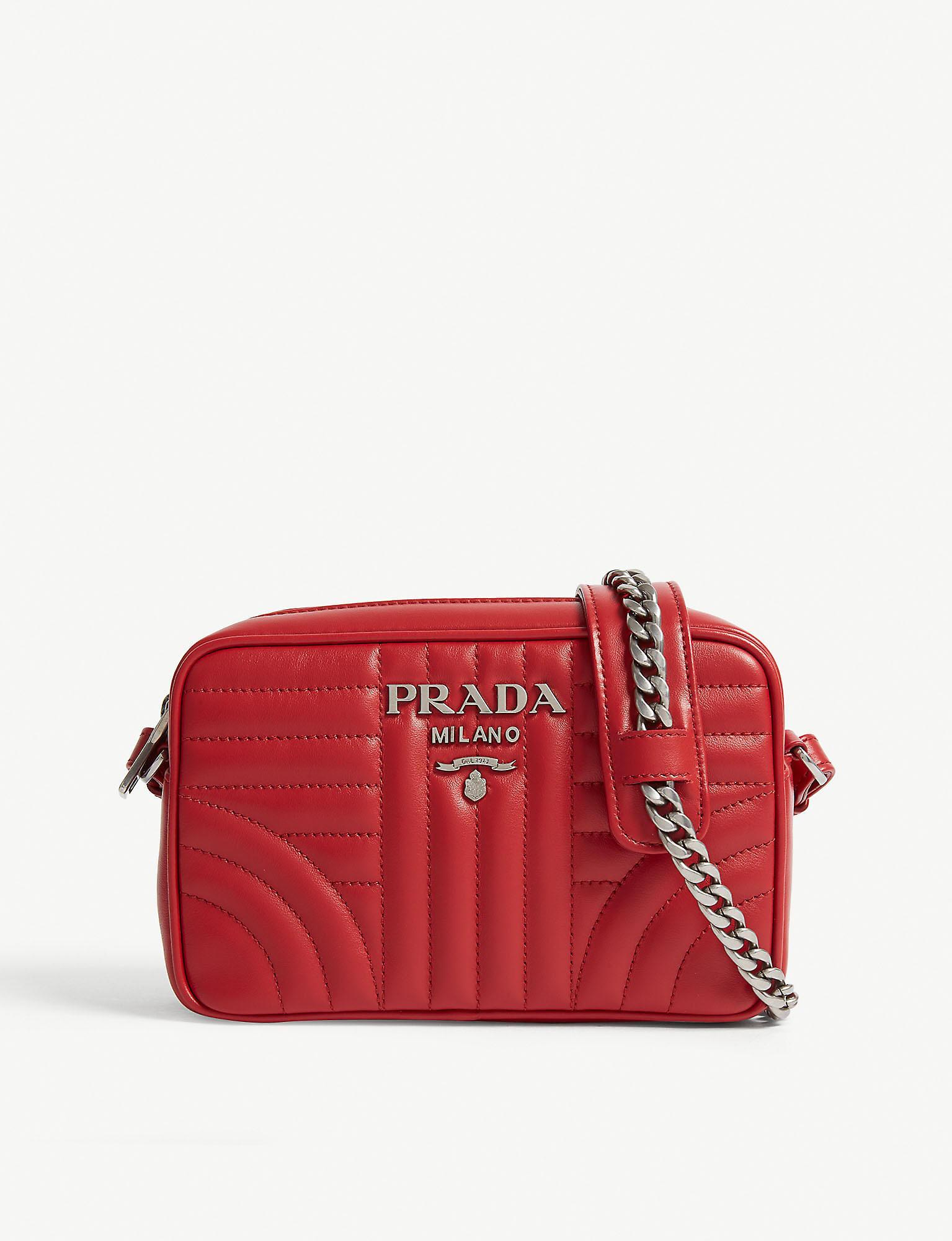 eda7515323678f Prada Diagramme Camera Bag in Red - Lyst