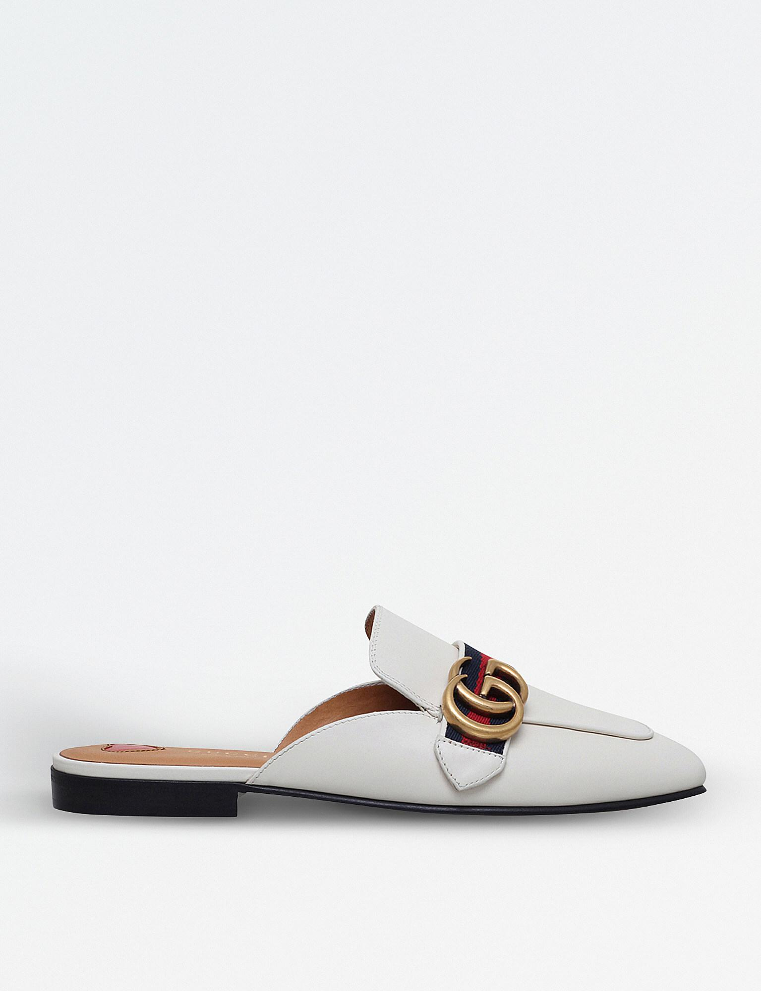 Gucci Peyton Leather Backless Mules in