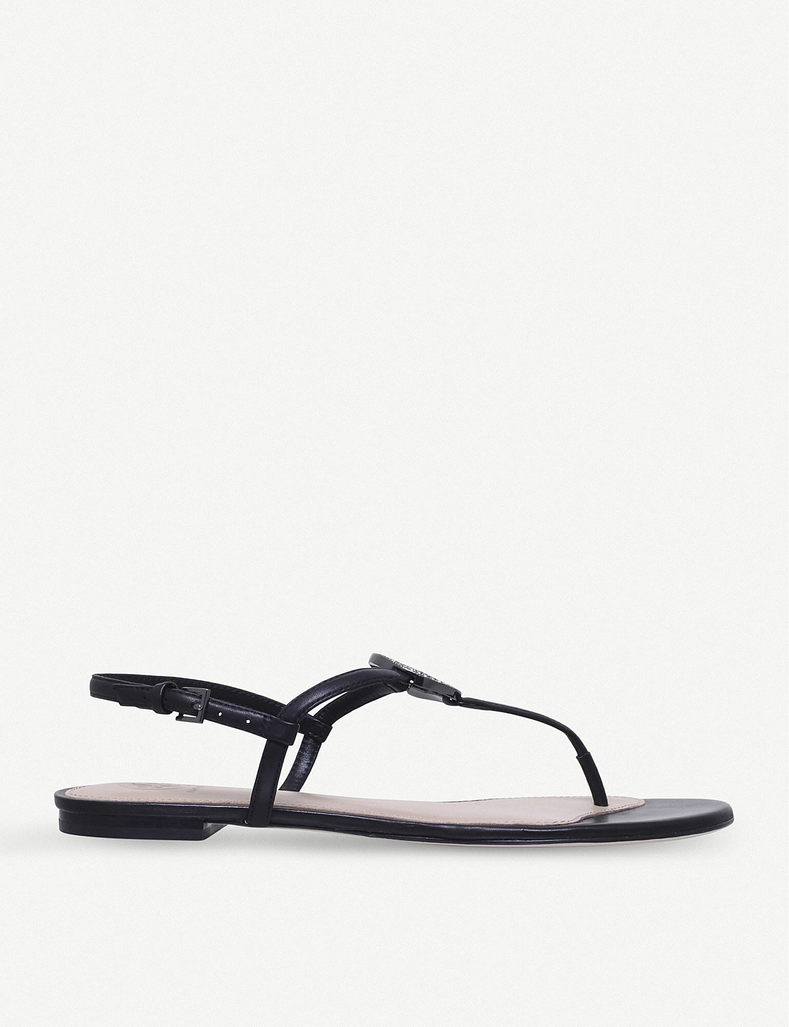 16d366108a51 Lyst - Tory Burch Liana Flat Leather Sandals in Black