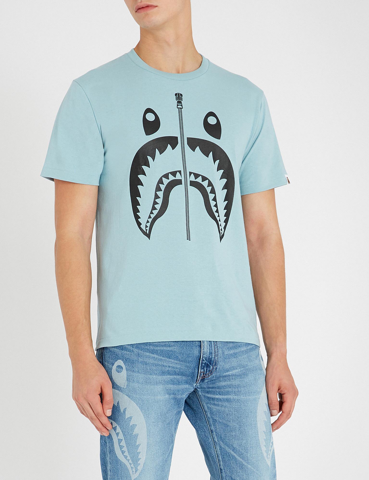 e89b1ef8 A Bathing Ape Bape Tee Bicolor Shark in Blue for Men - Lyst