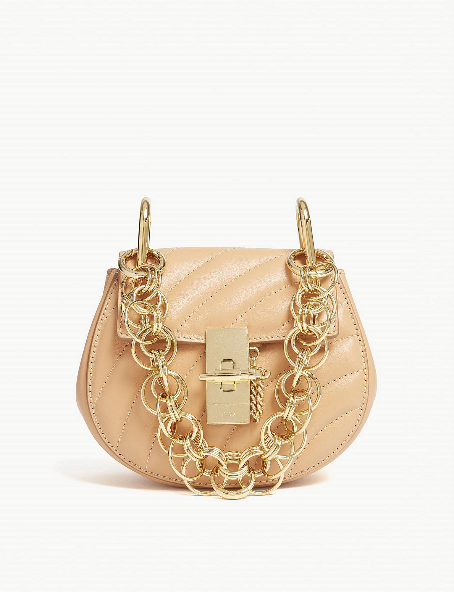 f326eb41 Chloé Multicolor Ladies Blushy Pink And Gold Drew Bijou Nano Leather  Shoulder Bag