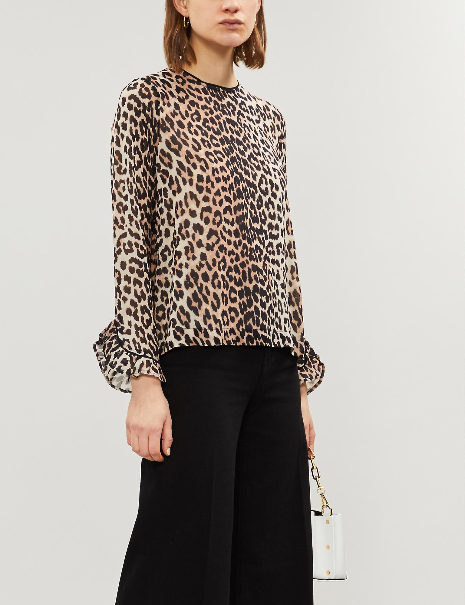 e12305a7 Ganni. Women's Ladies Brown And Black Mullin Leopard-print Georgette Top