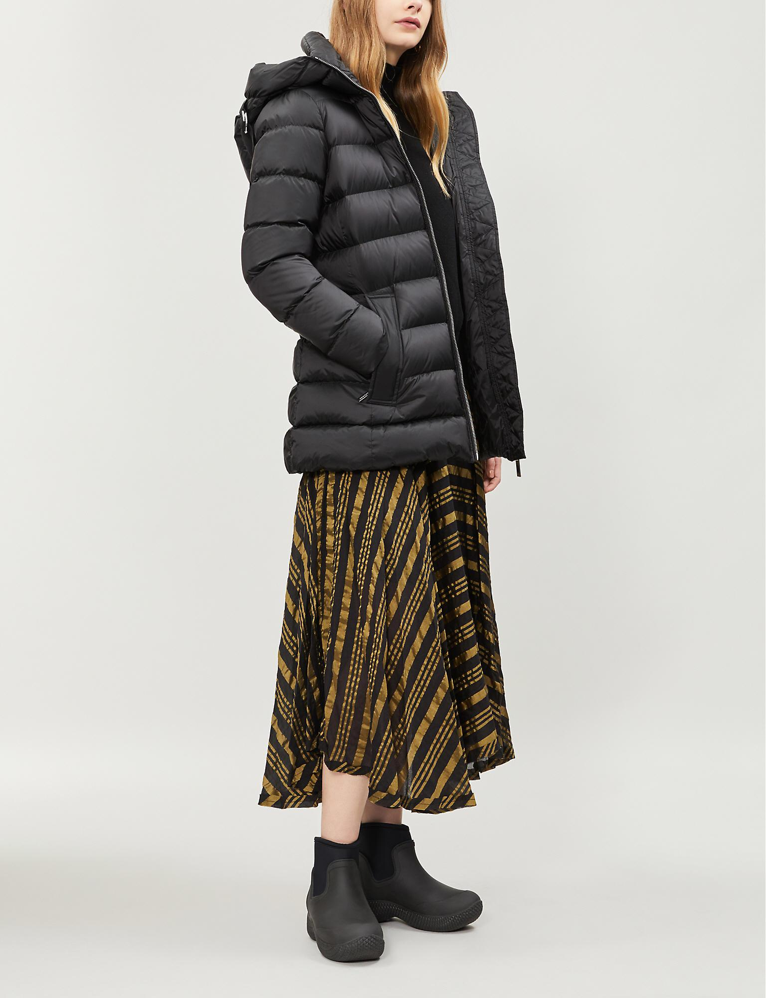 60843e63e Burberry Water Resistant Womens Black Check Limehouse Hooded Shell-down  Puffer Coat