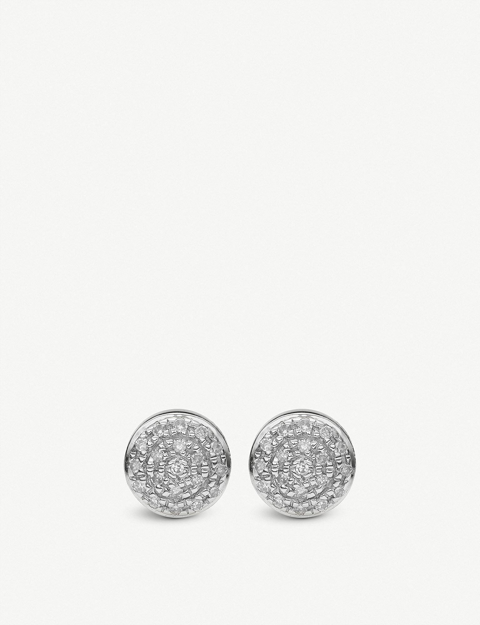 Sterling Silver Fiji Mini Button Stud Earrings Diamond Monica Vinader qKedPg1L