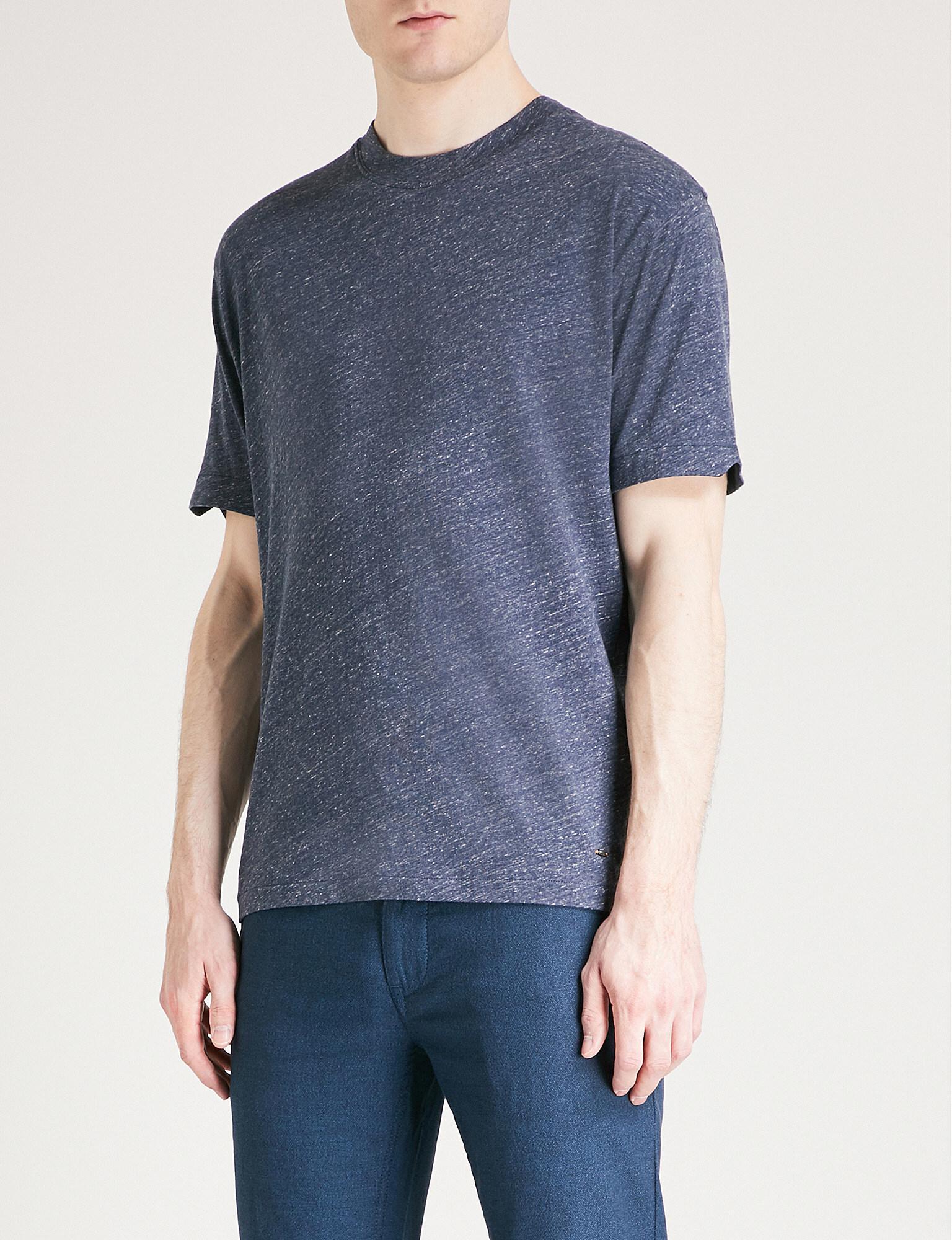 62eb39ba Lyst - Boss Orange Marl Effect Cotton-jersey T-shirt in Blue for Men