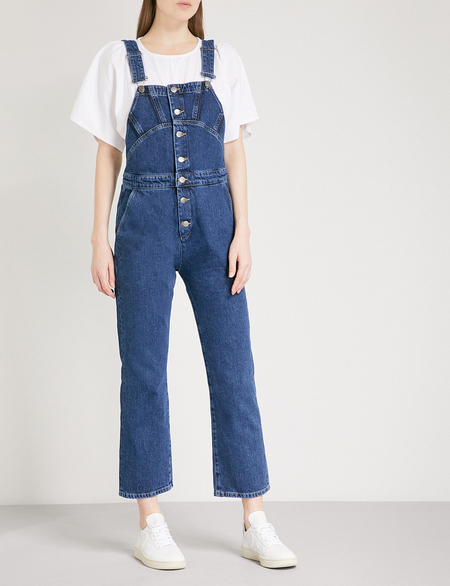 ea7b5d87e2b Lyst - Mih Jeans Tribe Slim-fit Denim Dungarees in Blue