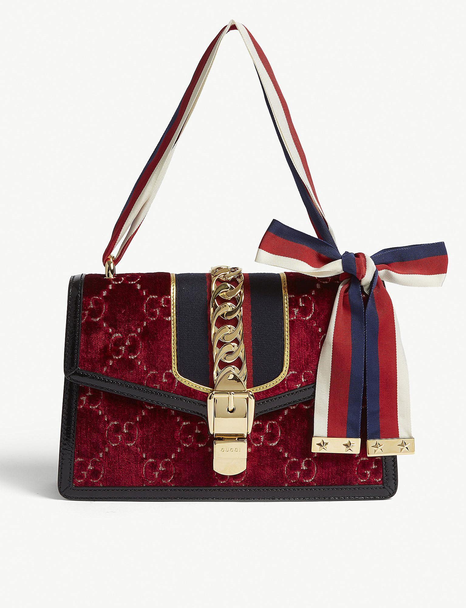 4eb01923bbe728 Gucci Red Sylvie Embossed Velvet Shoulder Bag in Red - Lyst