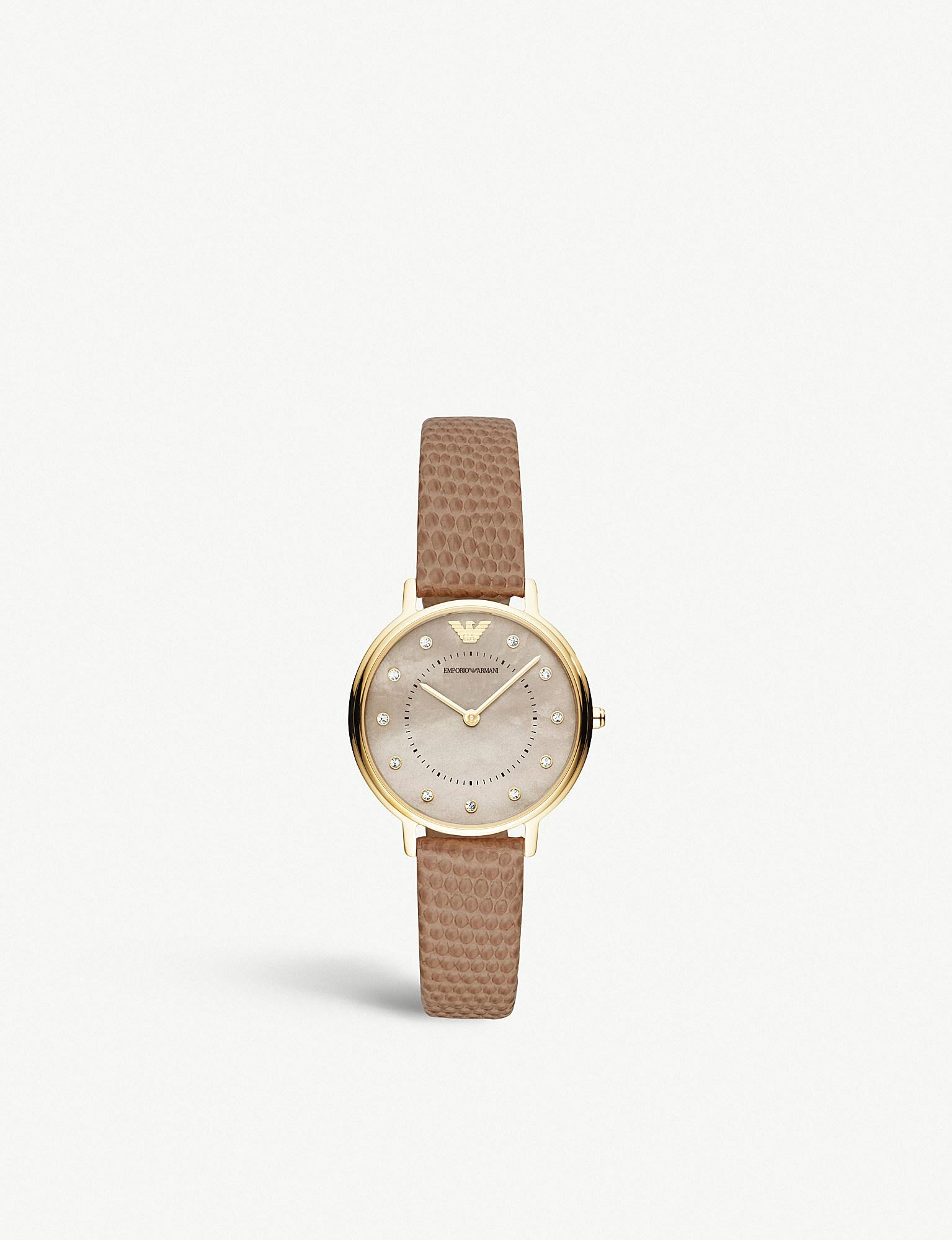 096abf7400749 Emporio Armani. Women's Ar11151 Kappa Gold-toned Stainless Steel And  Leather Strap Watch