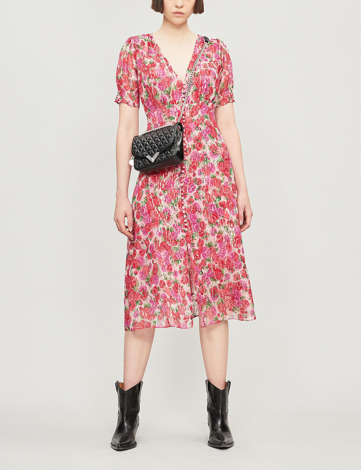 1e1ceff4ba Lyst - The Kooples Rose Print Short-sleeved Silk Midi Dress in Pink