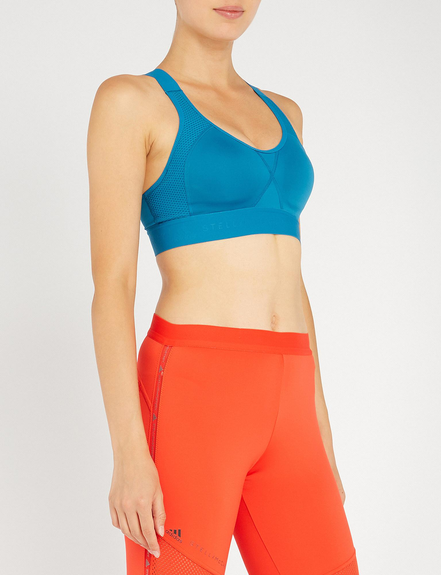 f7b1d4a9c67b3 adidas By Stella McCartney. Women s Blue Stronger For It Microfibre Sports  Bra