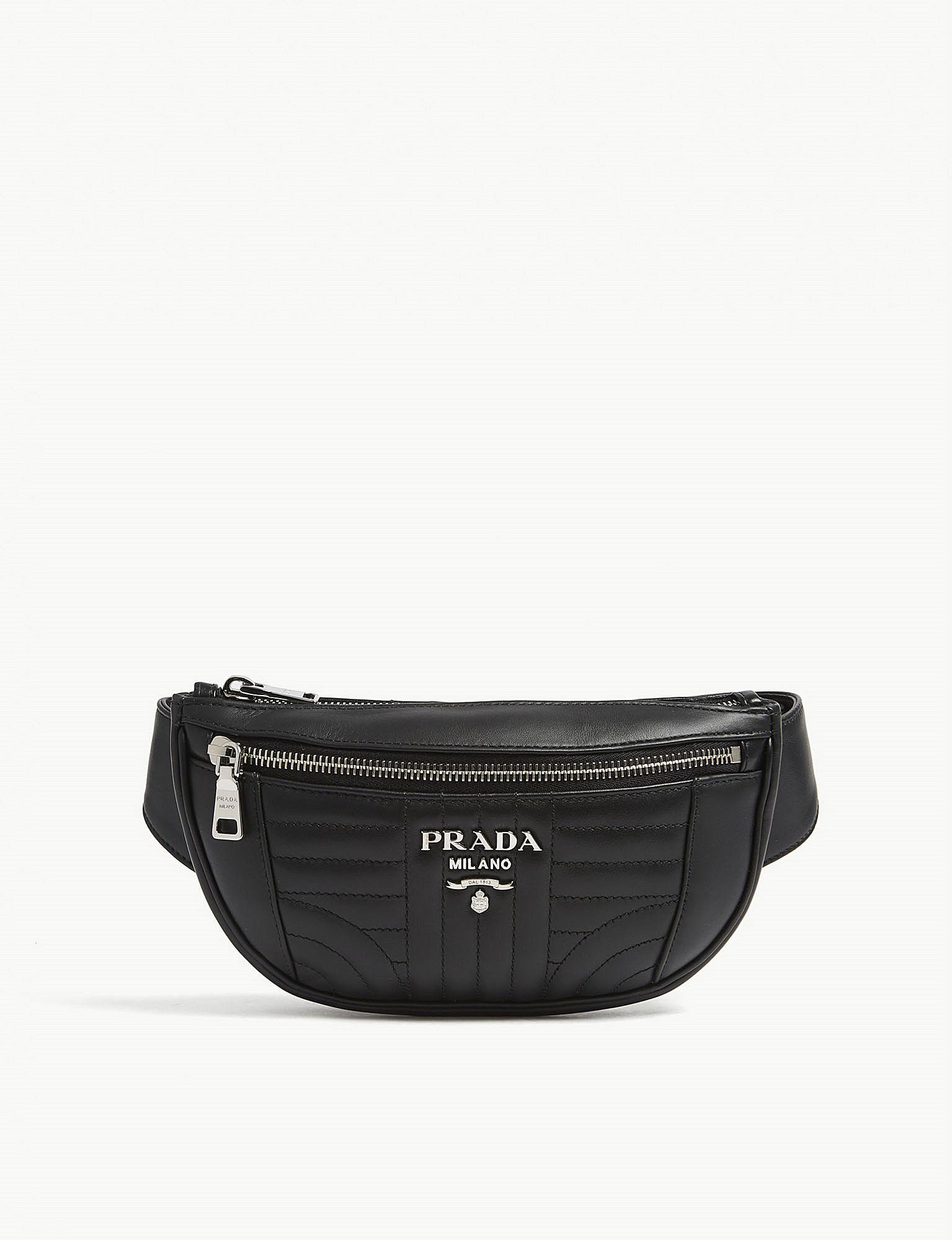 Lyst - Prada Diagramme Quilted Leather Bum Bag in Black for Men