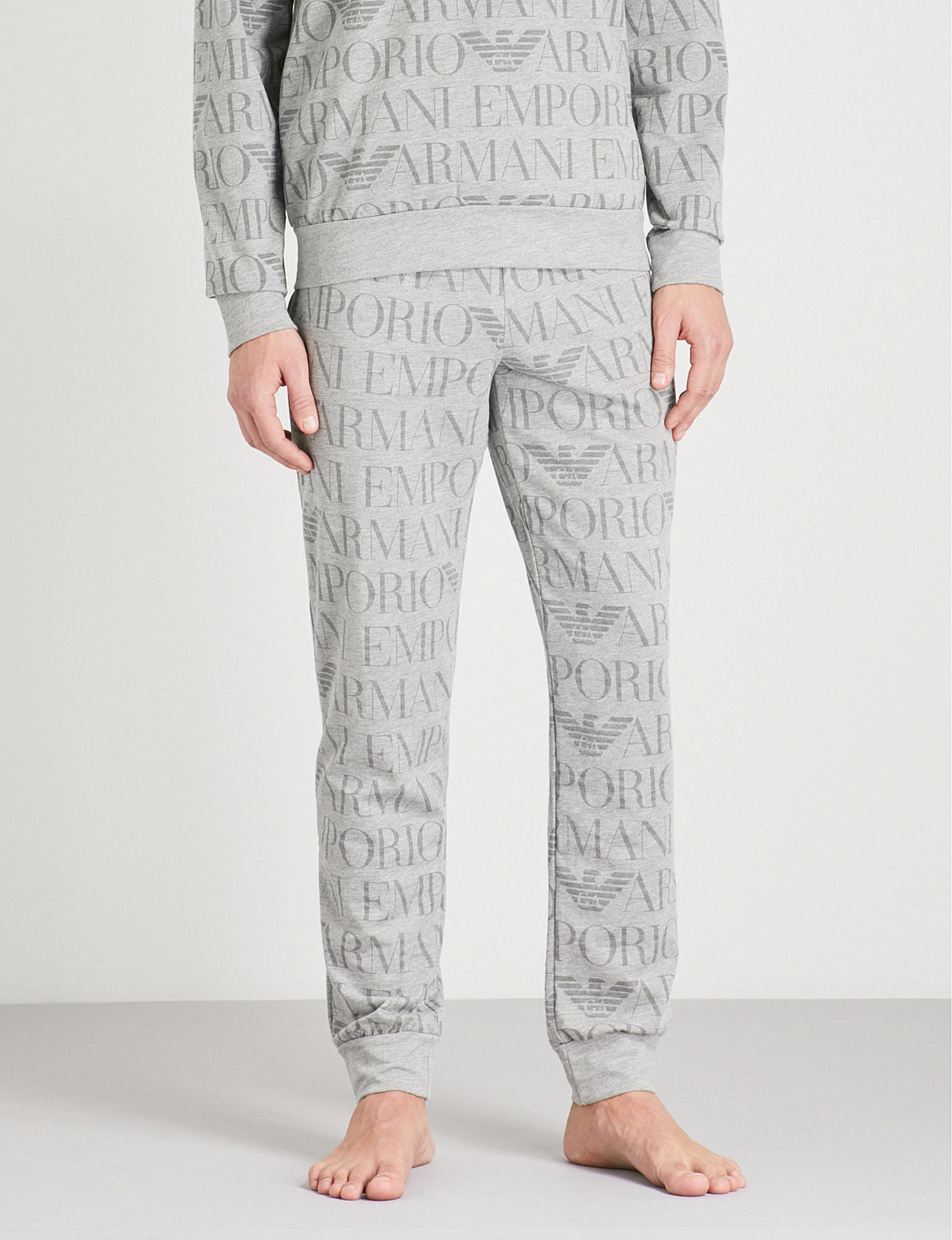 19e773afae Emporio Armani Gray Logo-print Cotton-blend Jogging Bottoms for men