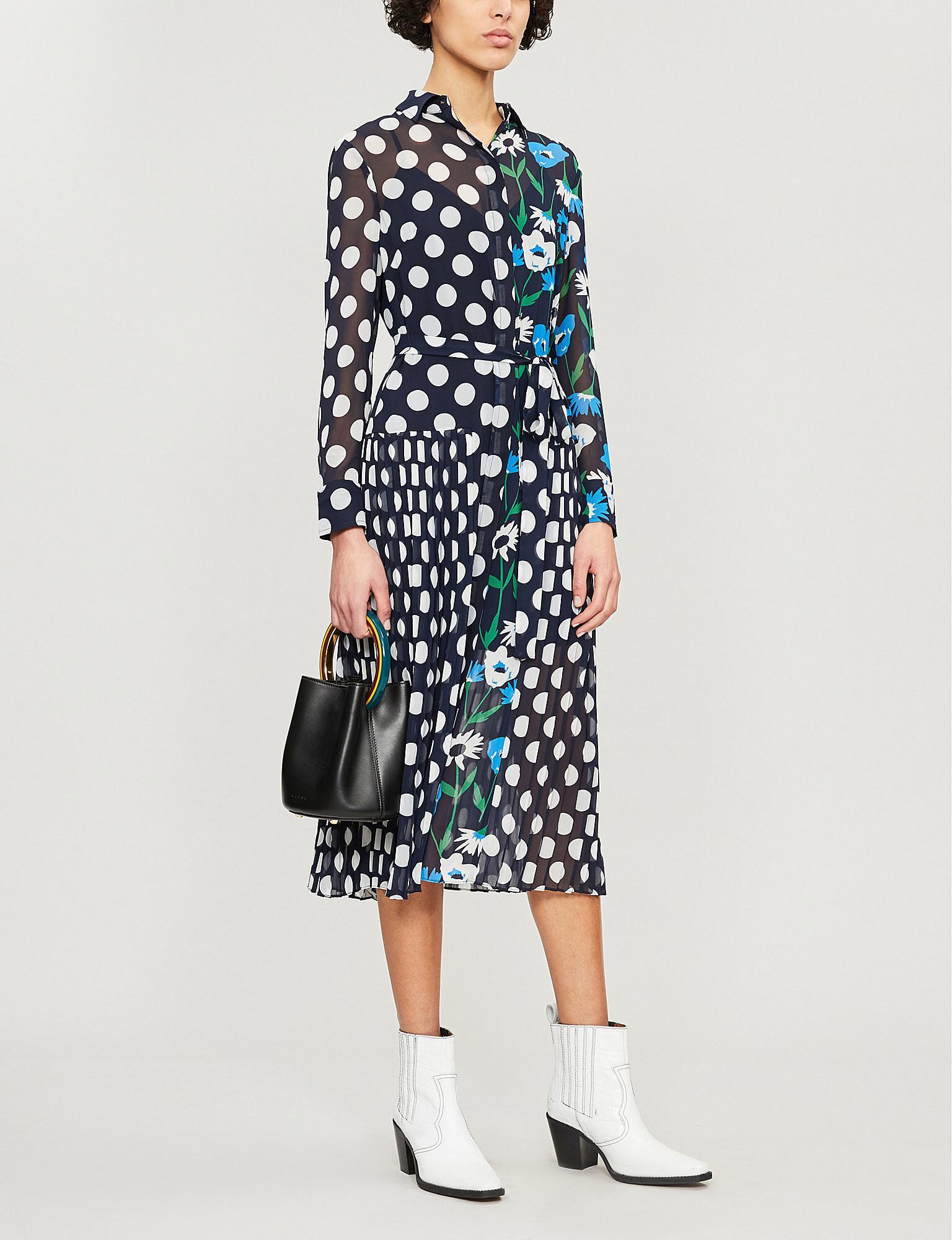 d6215984c8 Kitri Gabriella Polka Dot And Floral-print Crepe Dress in Blue - Lyst
